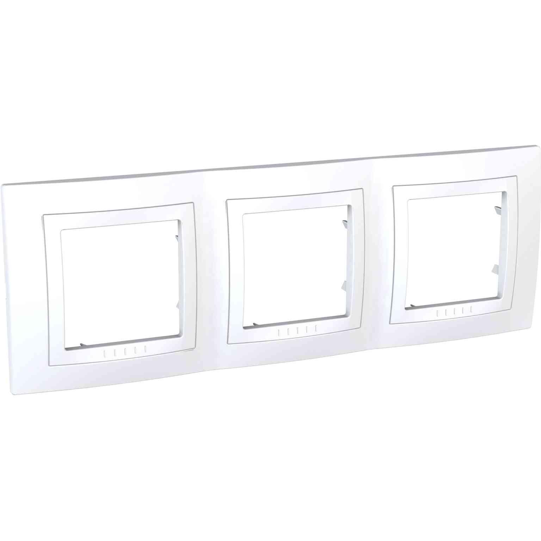 Unica Basic - dekorativni okvir - 3 odprtine, H71 - bel/bel