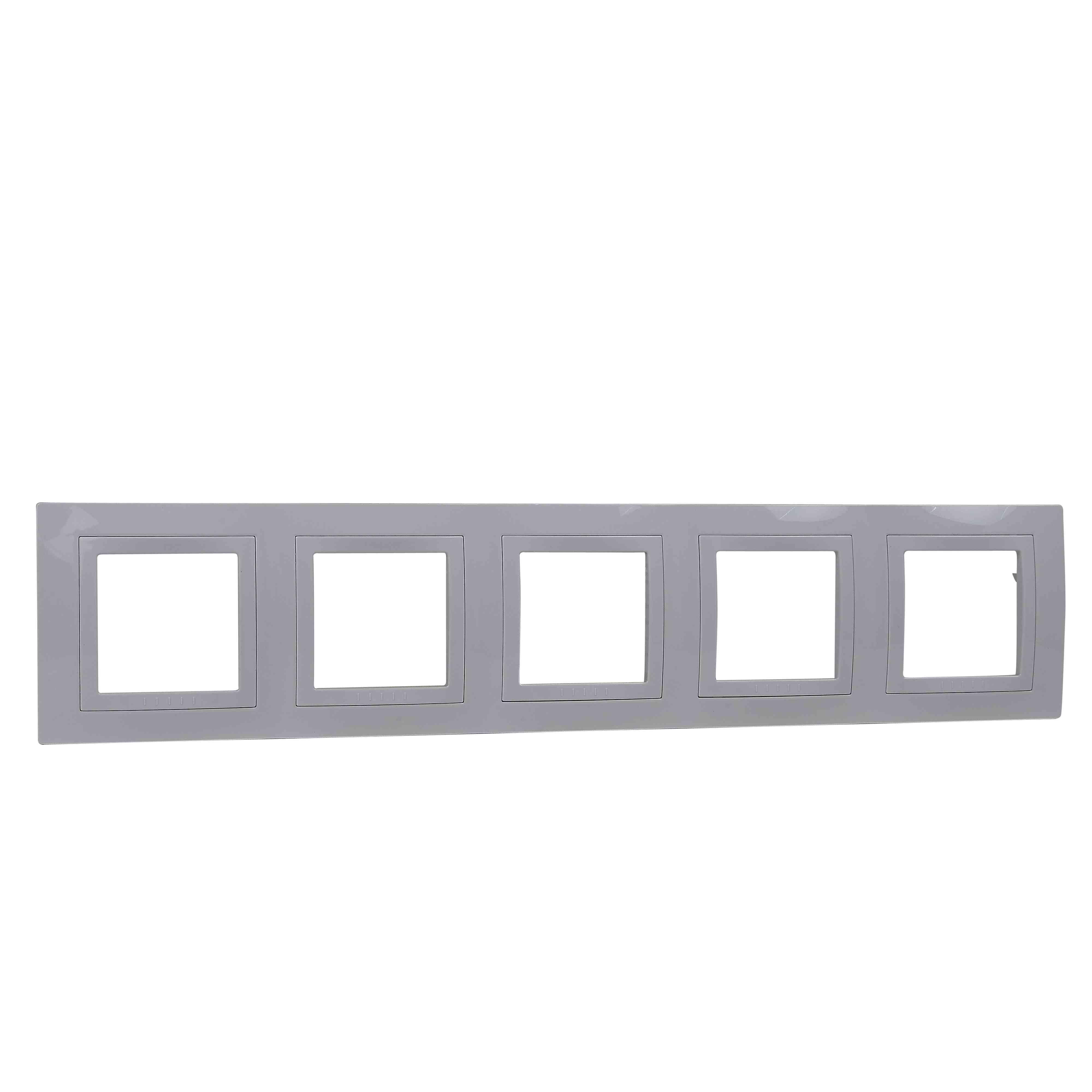 Unica Basic - dekorativni okvir - 5 odprtin vodoravno - bel