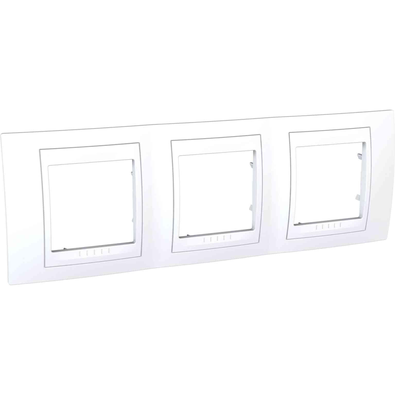 Unica Plus - dekorativni okvir - 3 odprtine, H71 - bel/bel