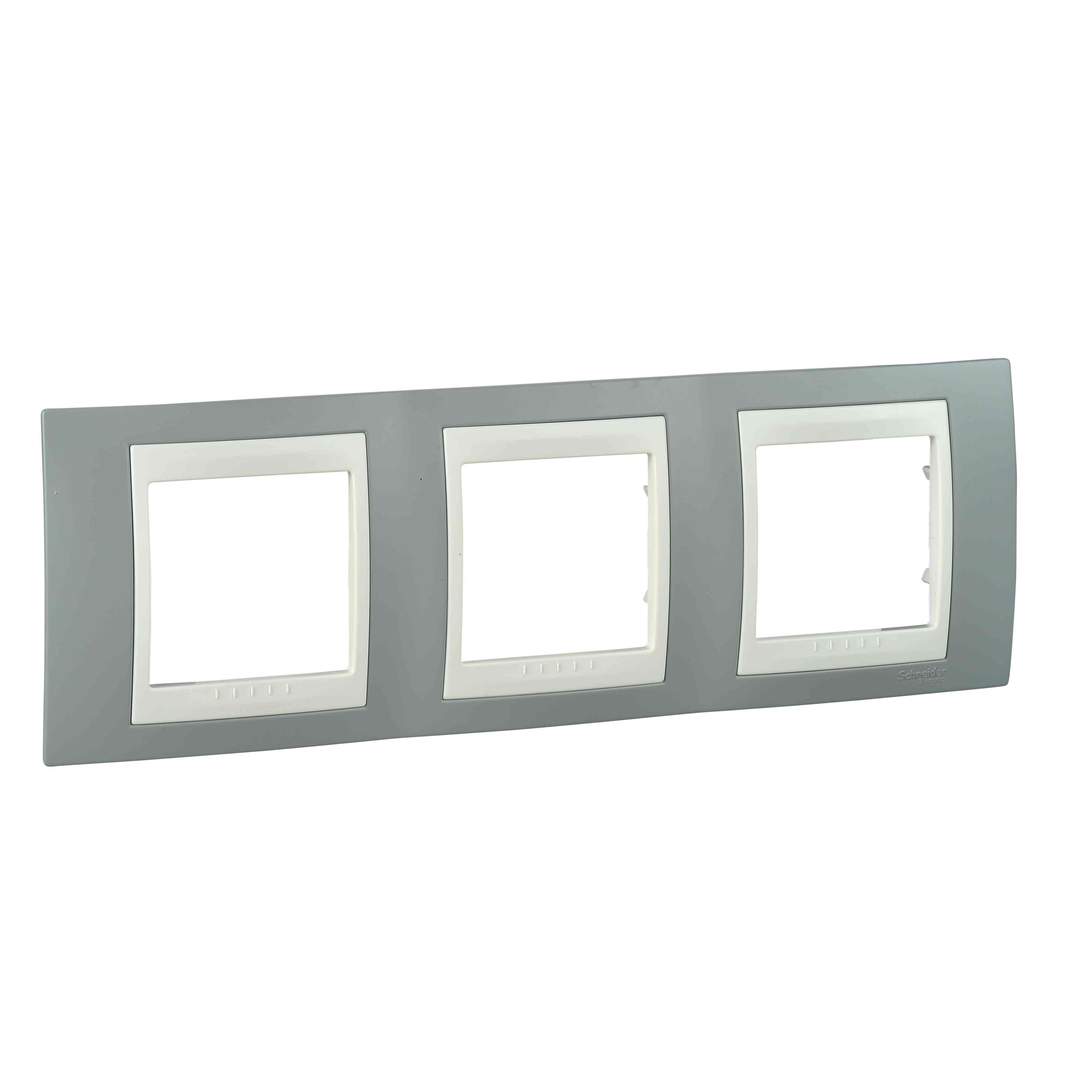 Unica Plus - dekorativni okvir - 3 odprtine, H71 - megleno siv/bež