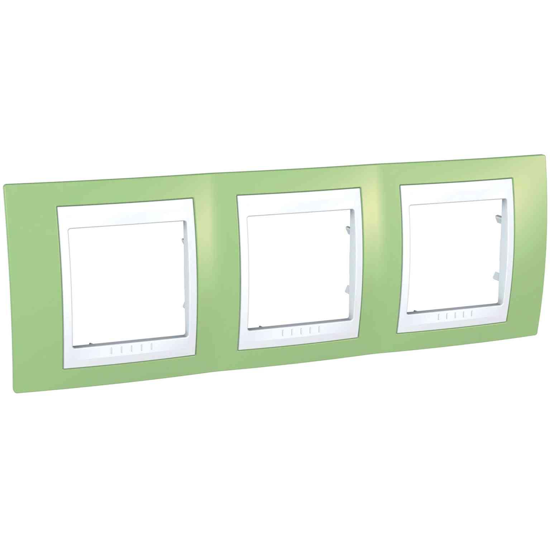 Unica Plus - dekorativni okvir - 3 odprtine, H71 - zelen/bel