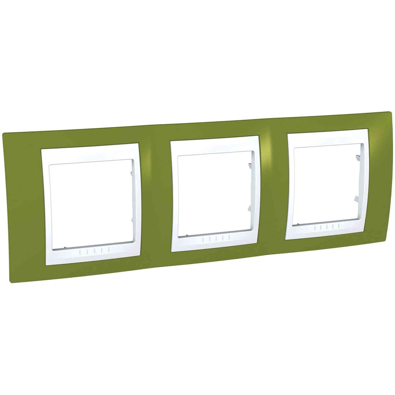 Unica Plus - dekorativni okvir - 3 odprtine, H71 - b. pistacije/bel