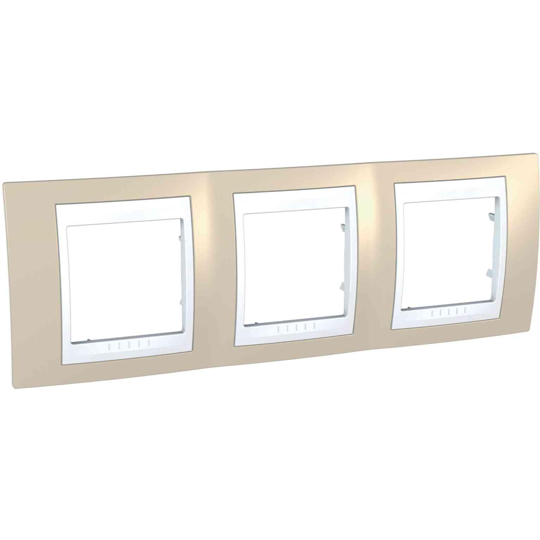 Unica Plus - dekorativni okvir - 3 odprtine, H71 - peščen/bel