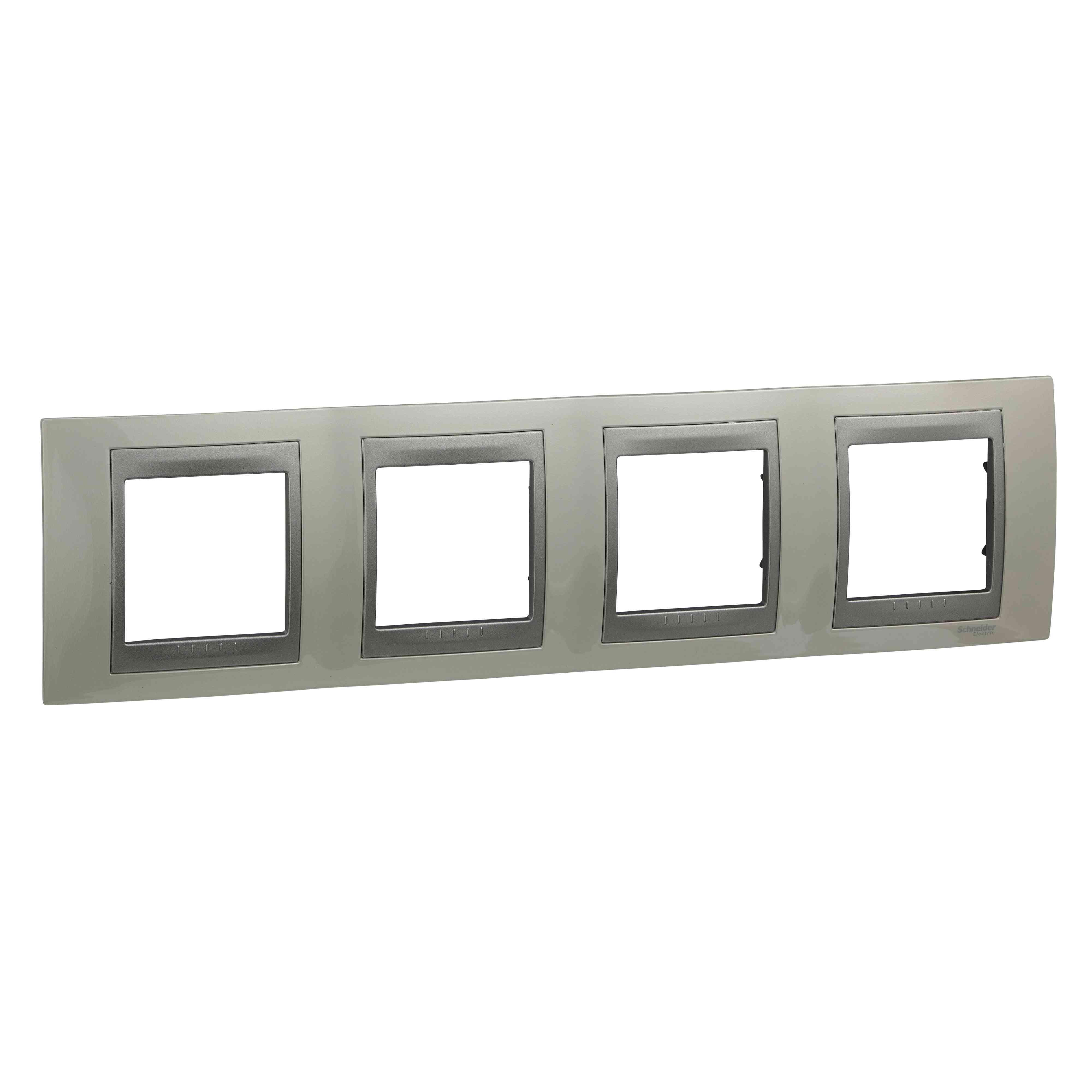 Unica Top - dekorativni okvir - 4 odprtine, H71 - bel/b. aluminija