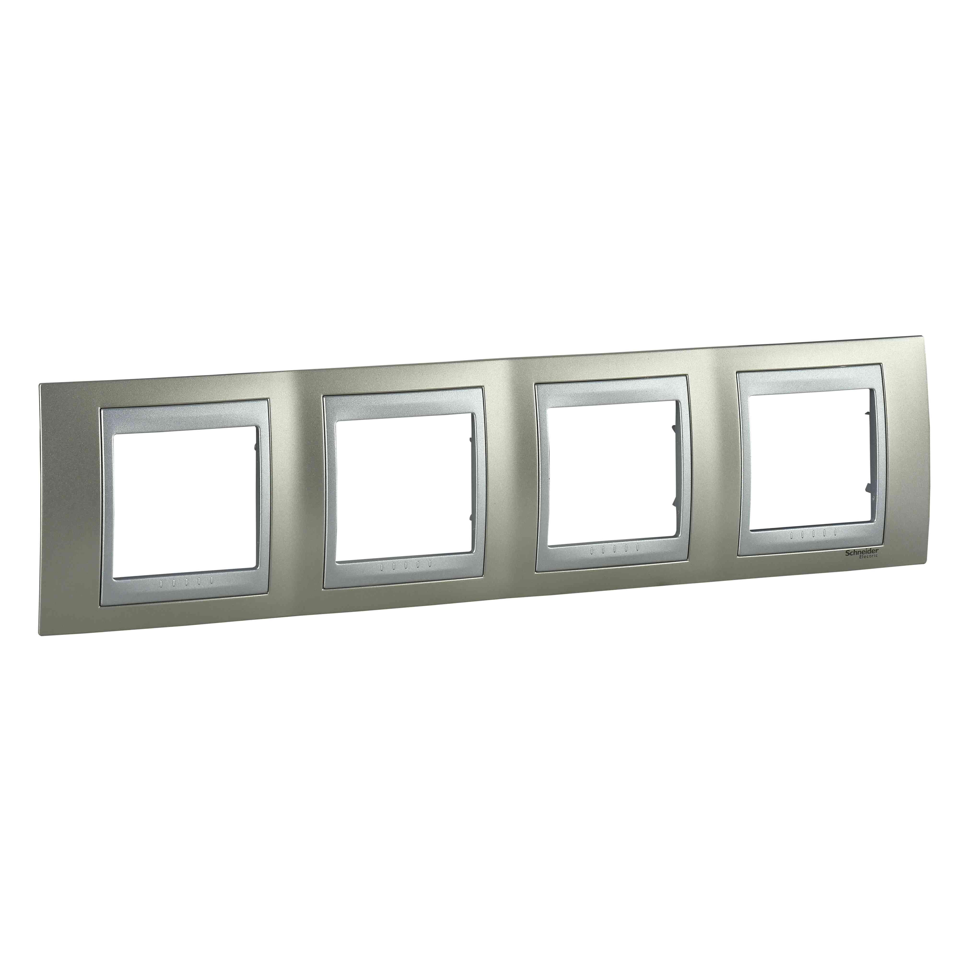 Unica Top - dekorativni okvir - 4 odprtine, H71 - b. titanija/b. aluminija