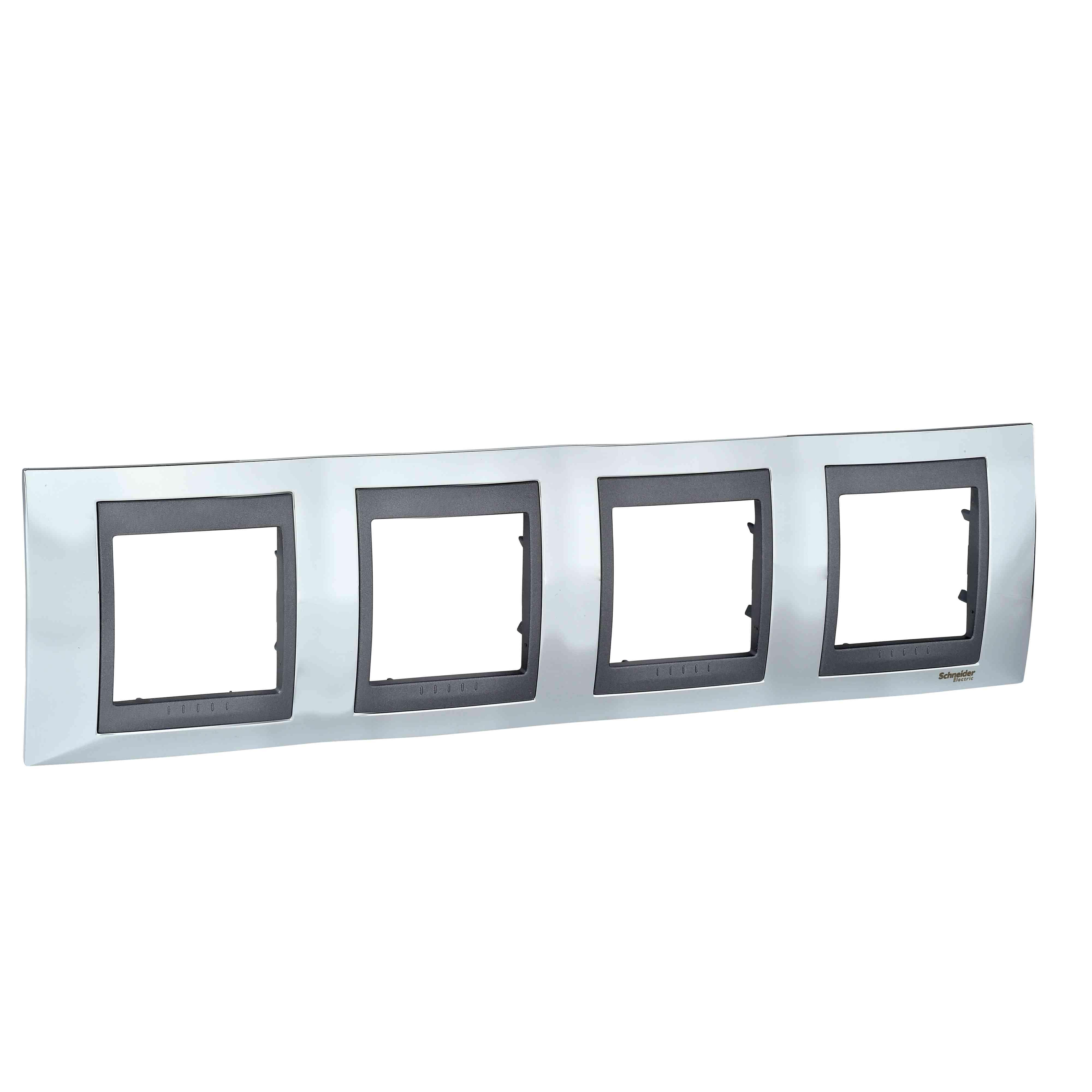 Unica Top - dekorativni okvir - 4 odprtine, H71 - b. svetlega kroma/b. grafita