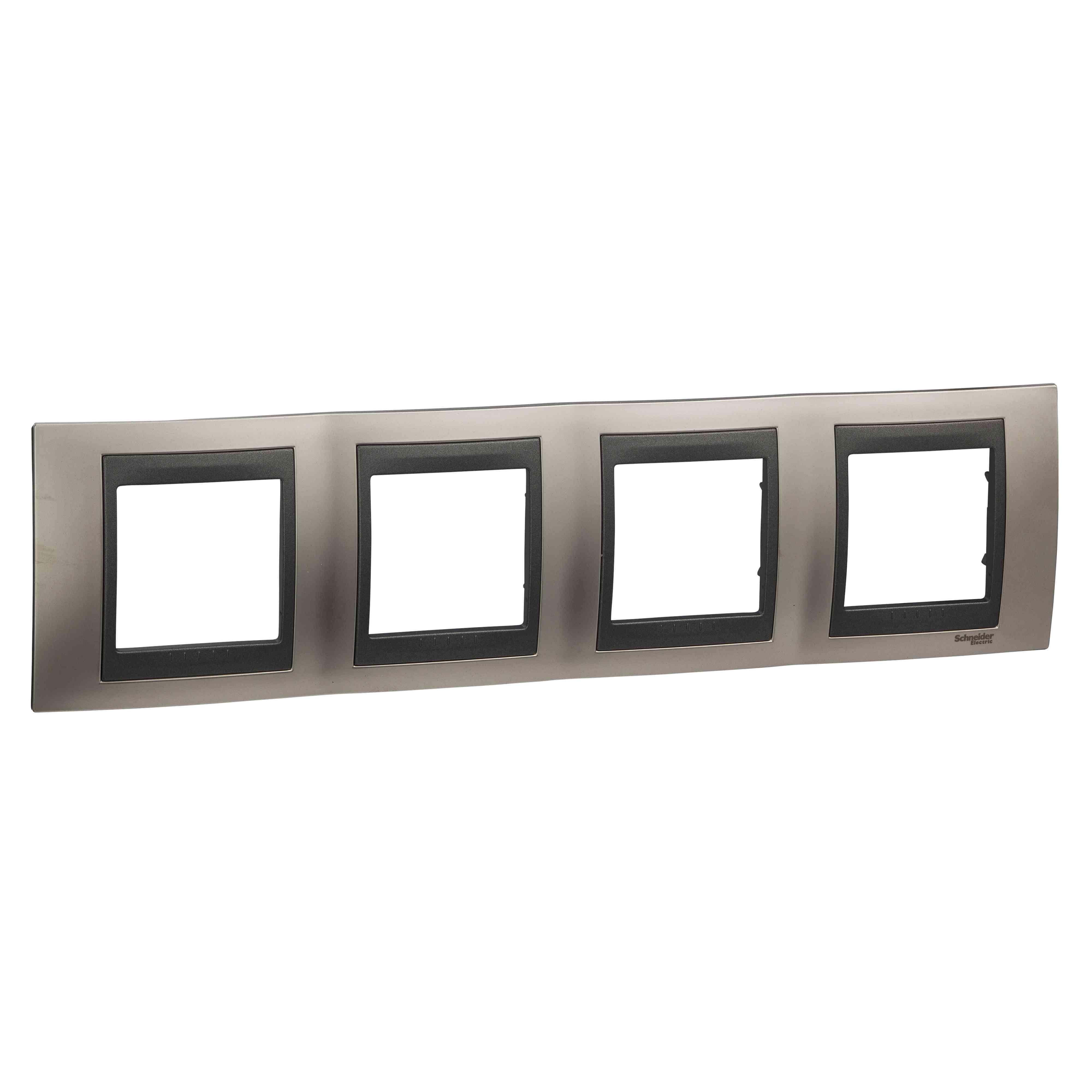 Unica Top - dekorativni okvir - 4 odprtine, H71 - mat b. niklja/grafita