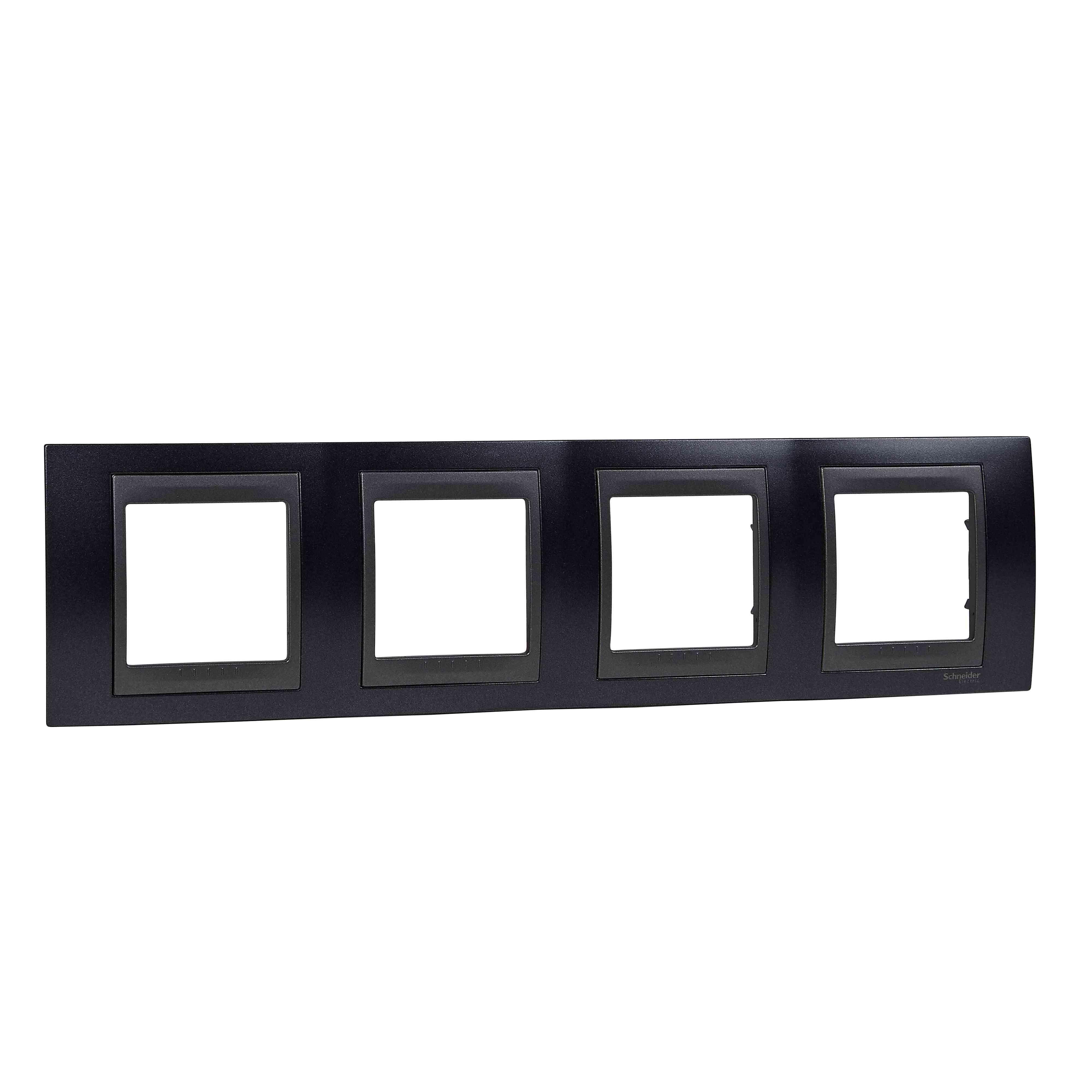 Unica Top - dekorativni okvir - 4 odprtine, H71 - kovinsko siv/b. grafita