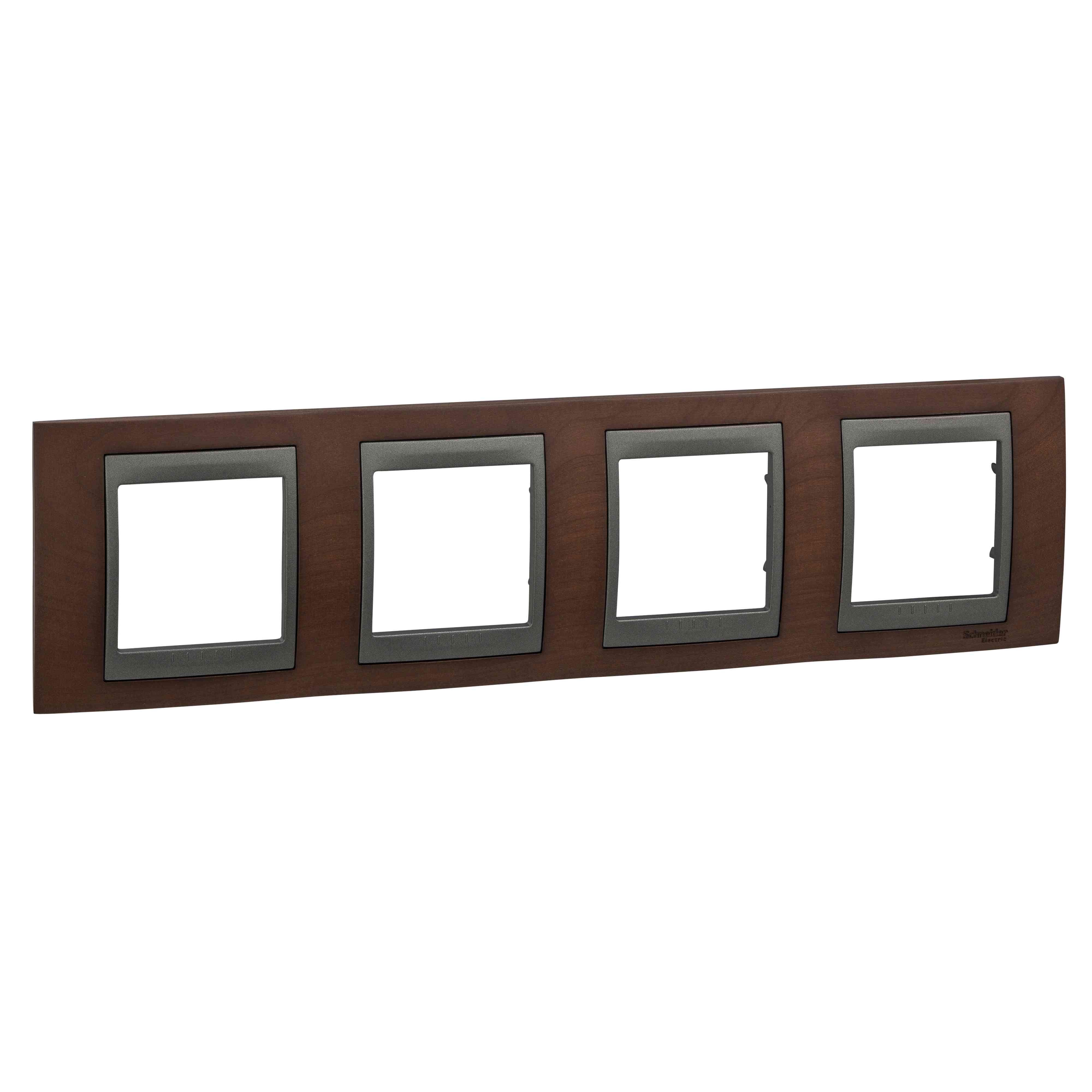 Unica Top - dekorativni okvir - 4 odprtine, H71 - b. tobaka/grafita