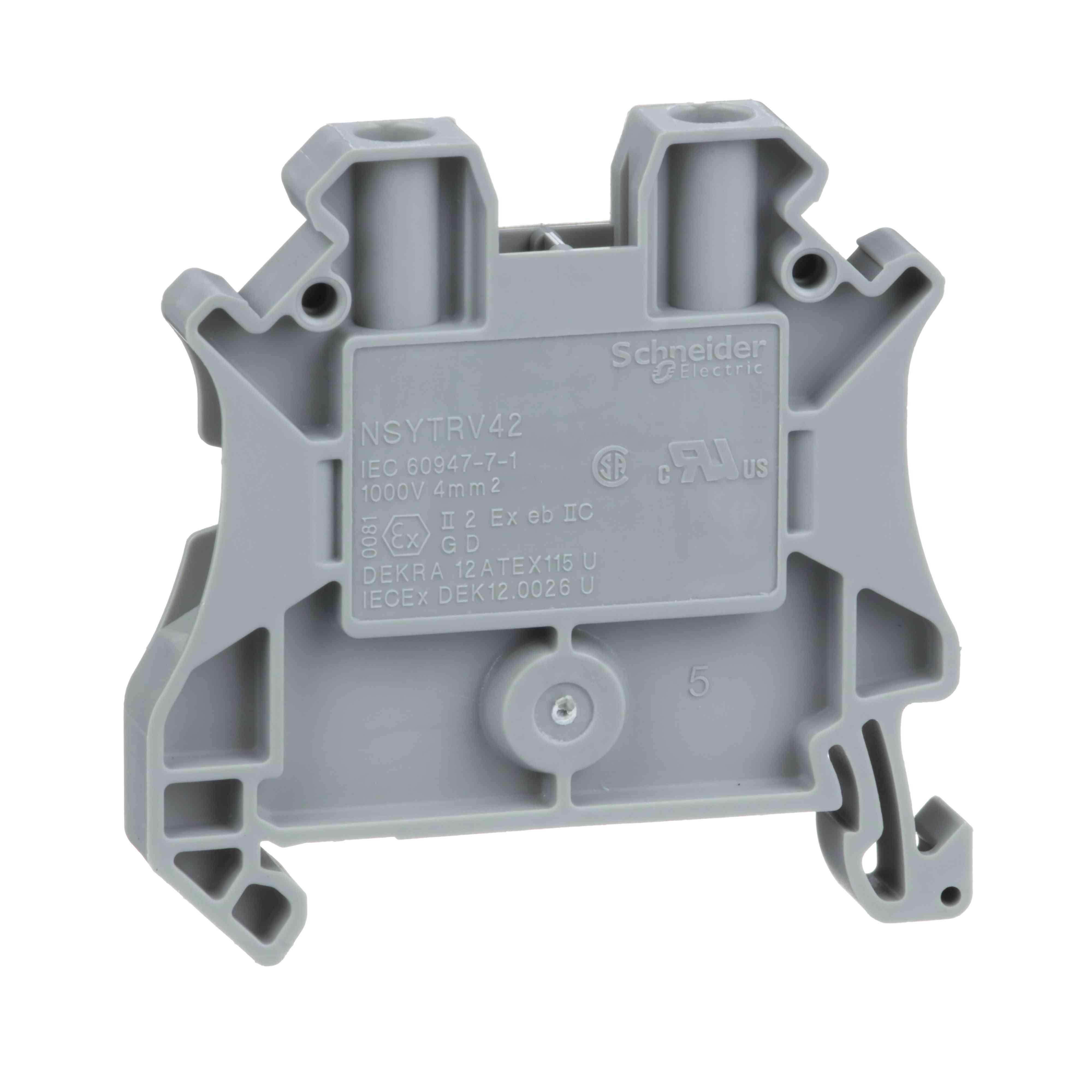 Linergy prehodni priključni blok - 4 mm² 32A enojna raven 1 x 1 vijak - siv
