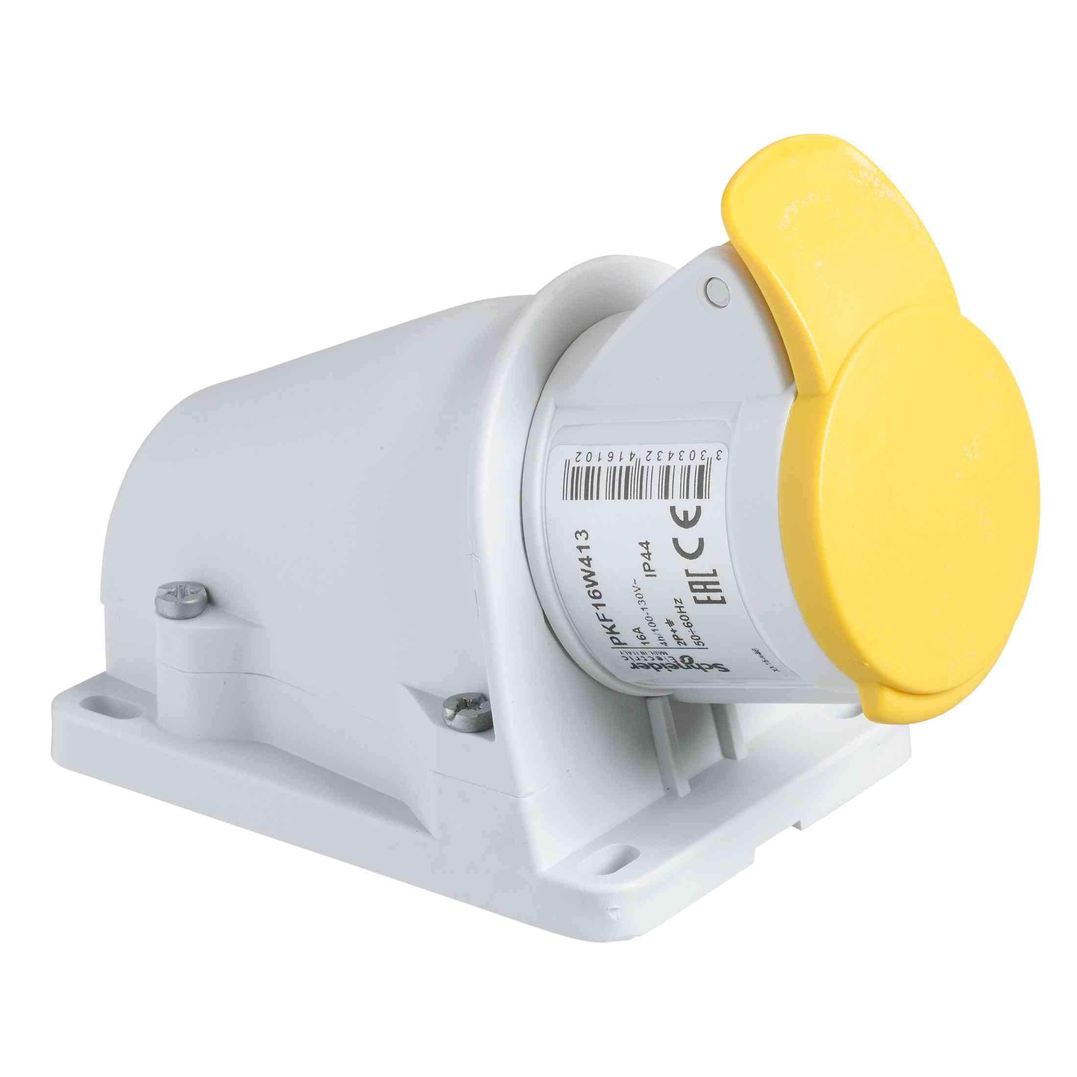 Vtičnica PratiKa - vijak - kotna - 16 A - 2P + E - 100 do 130 V AC - stena