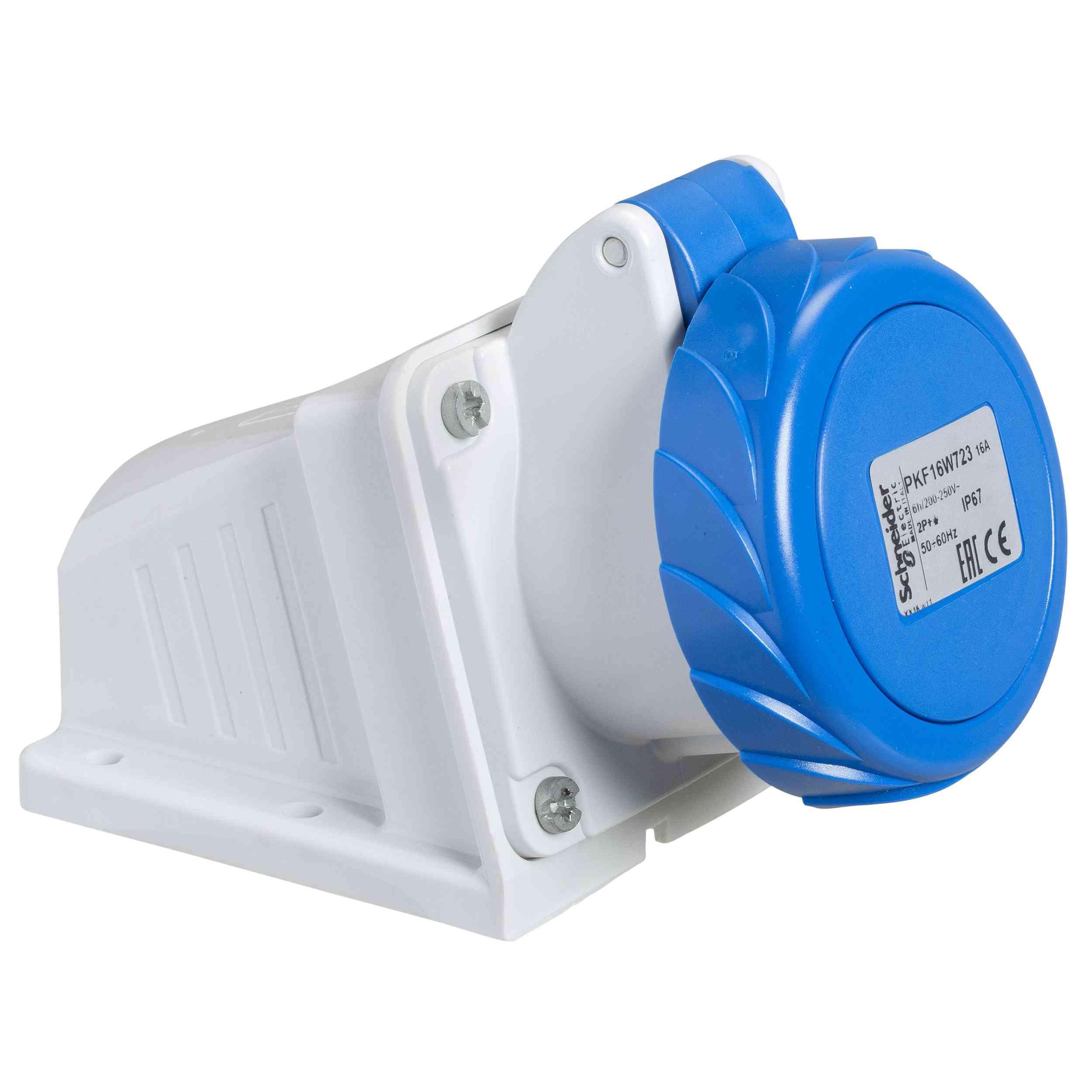 Vtičnica PratiKa - vijak - kotna - 16 A - 2P + E - 200 do 250 V AC - stena