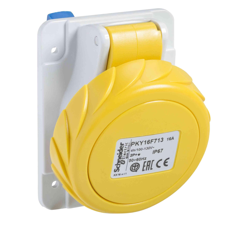 Vtičnica PratiKa - hitra - kotna - 32 A - 3P + N + E - 100 do 130 V AC - plošča