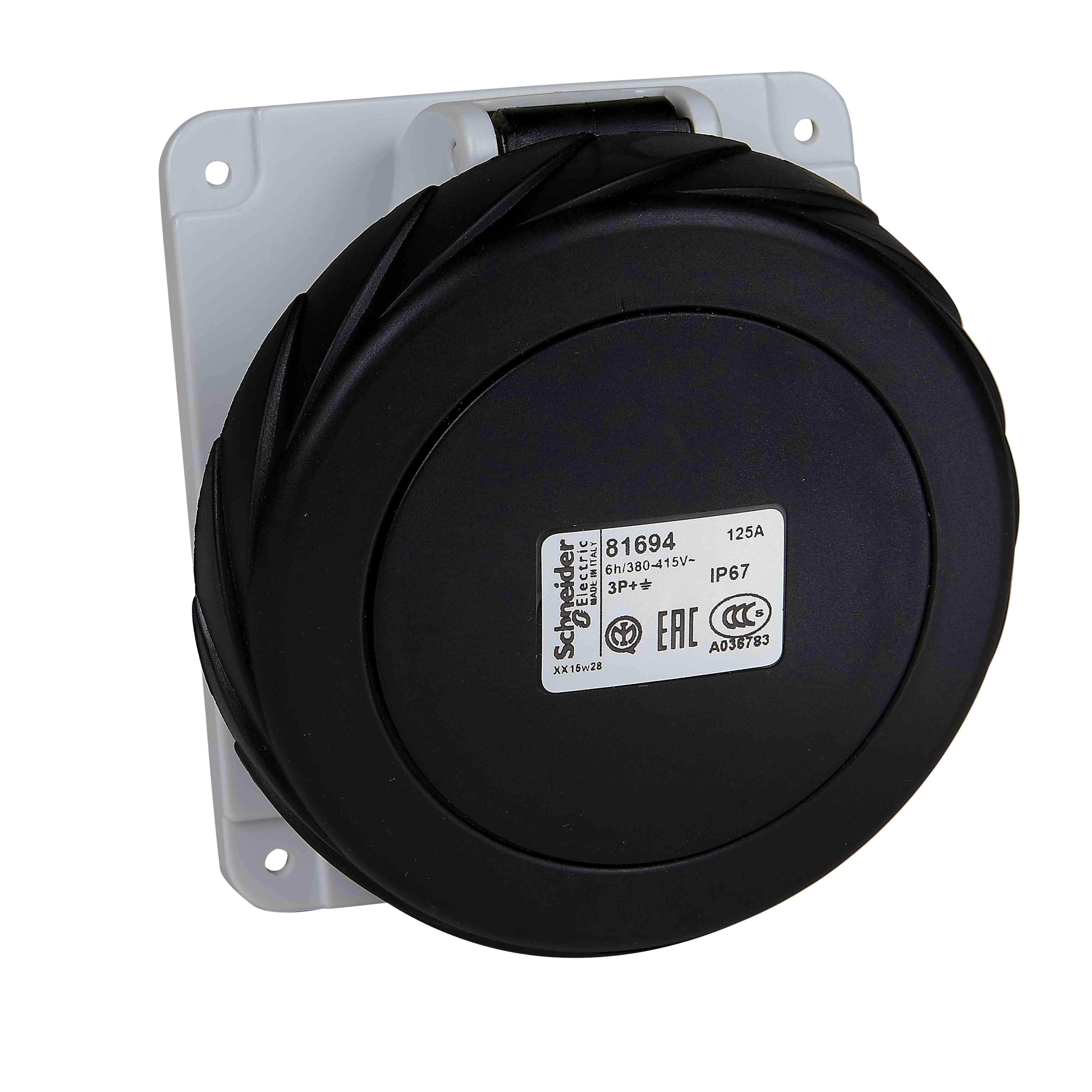 Vtičnica PratiKa - hitra - kotna - 32 A - 3P + N + E - 480 do 500 V AC - plošča