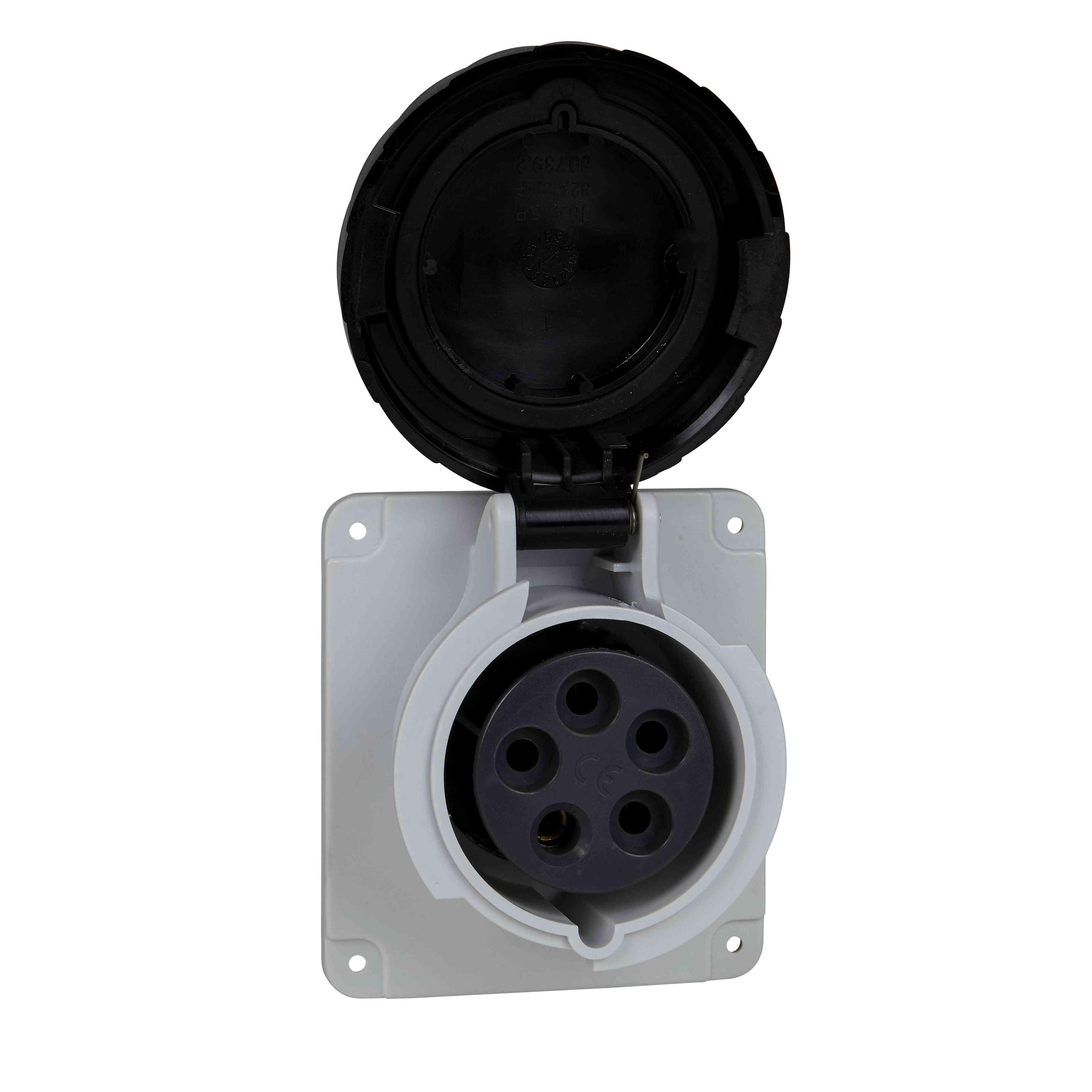 Vtičnica PratiKa - hitra - ravna - 32 A - 3P + N + E - 480 do 500 V AC - plošča