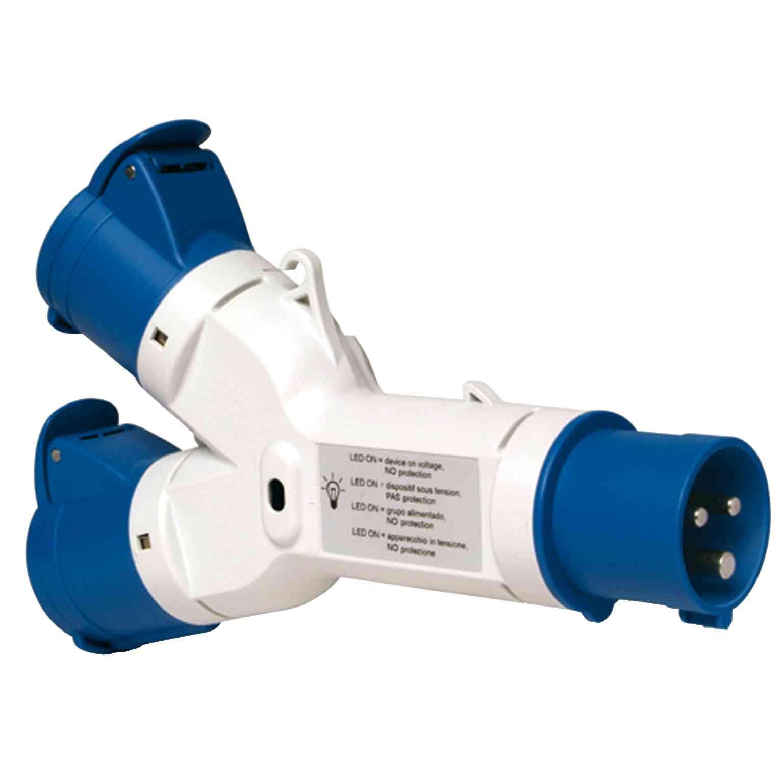 Adapter PratiKa - 2 industrijski vtičnici - 16 A - 2P + E - 220 V AC - IP44
