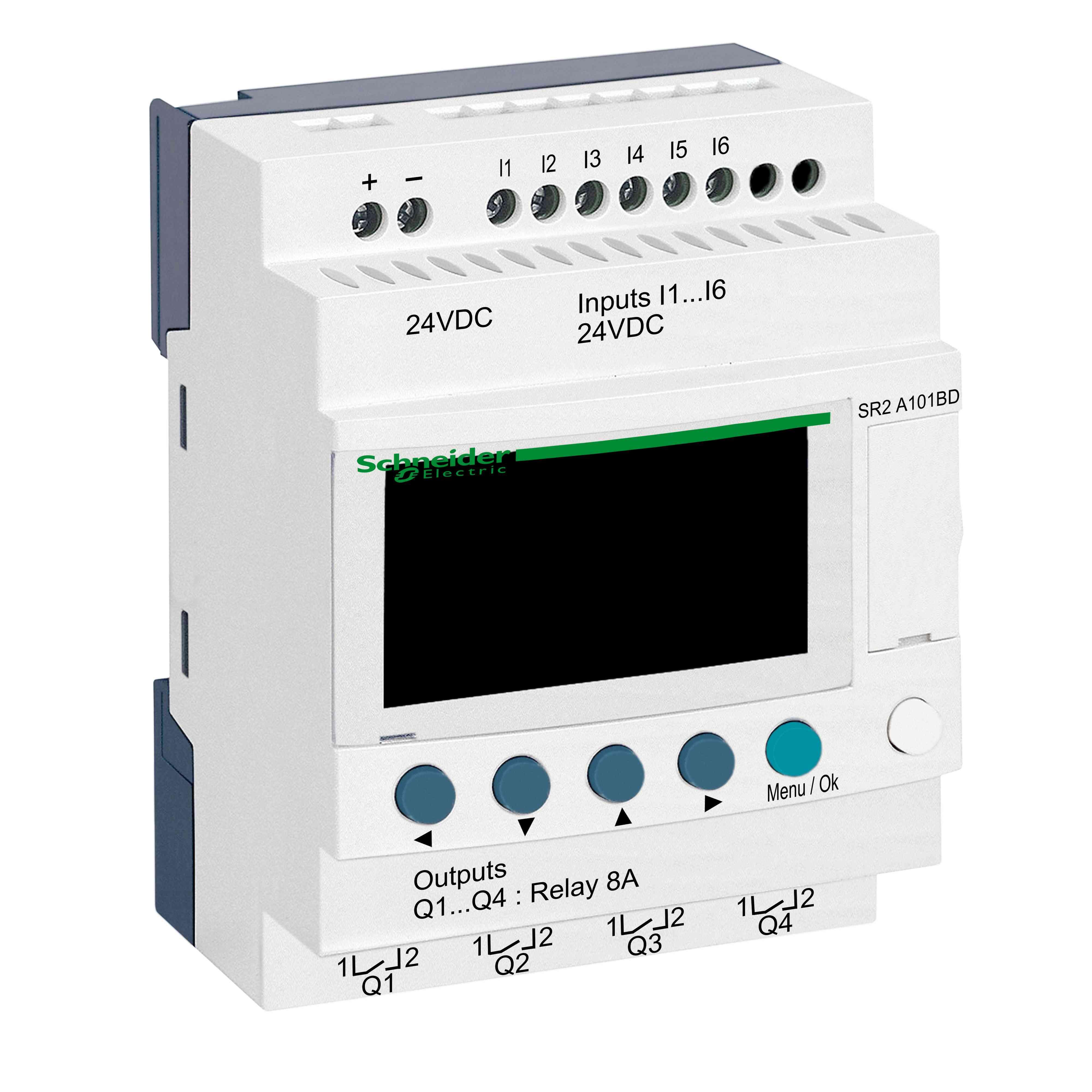 Kompakten pameten rele Zelio Logic - 10 I O - 24 V DC - brez ure - zaslon