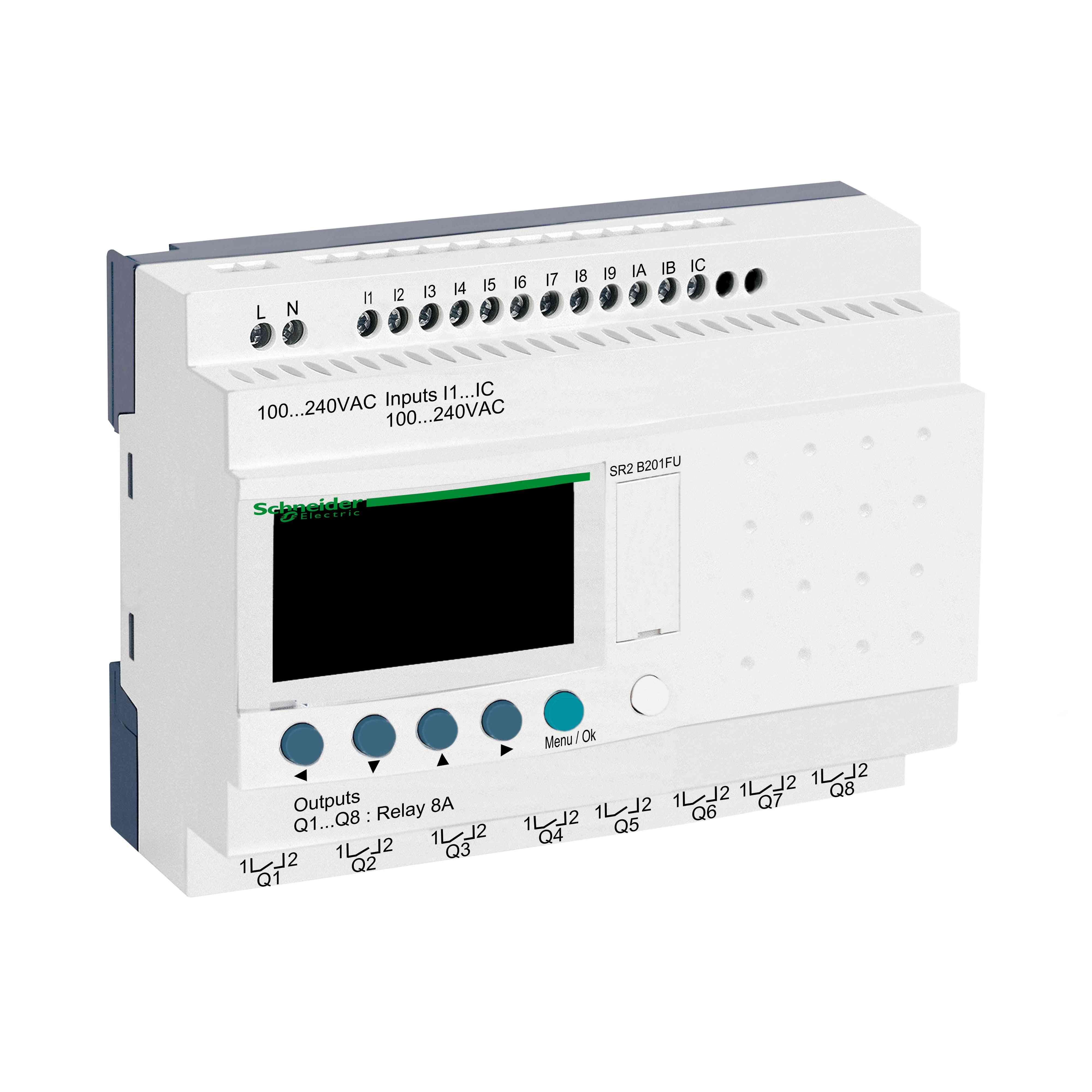 Kompakten pameten rele Zelio Logic - 20 I O - 100 do 240 V AC - ura - zaslon
