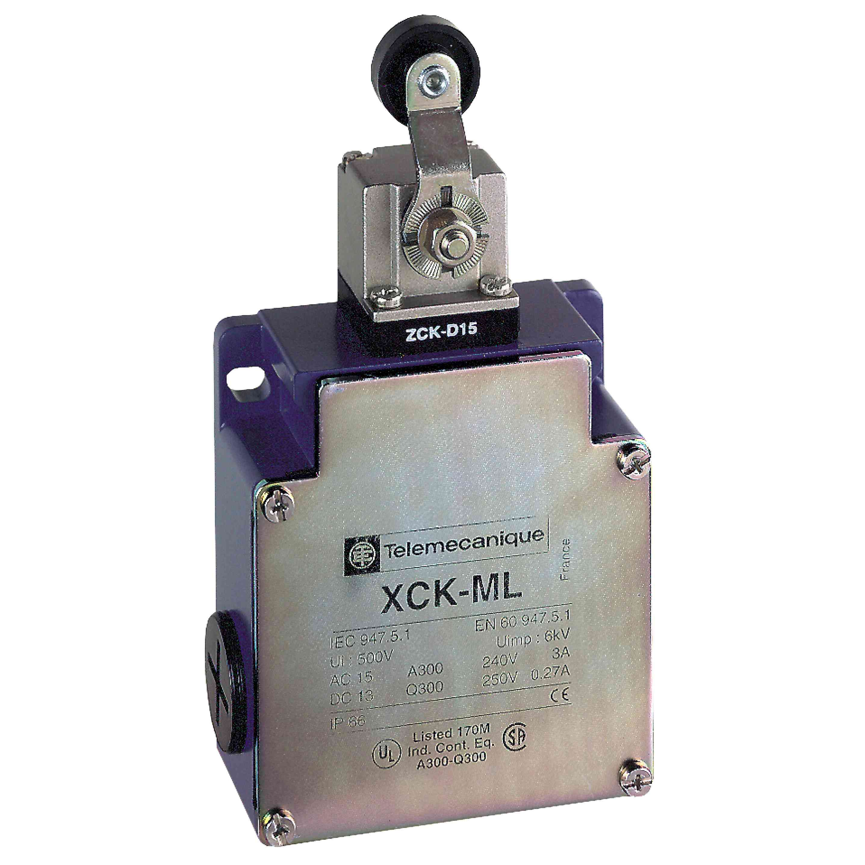 Omej. stik. XCKML - termoplastični vzvod valja - 2x(1NC+1NO) - proženje - Pg 13