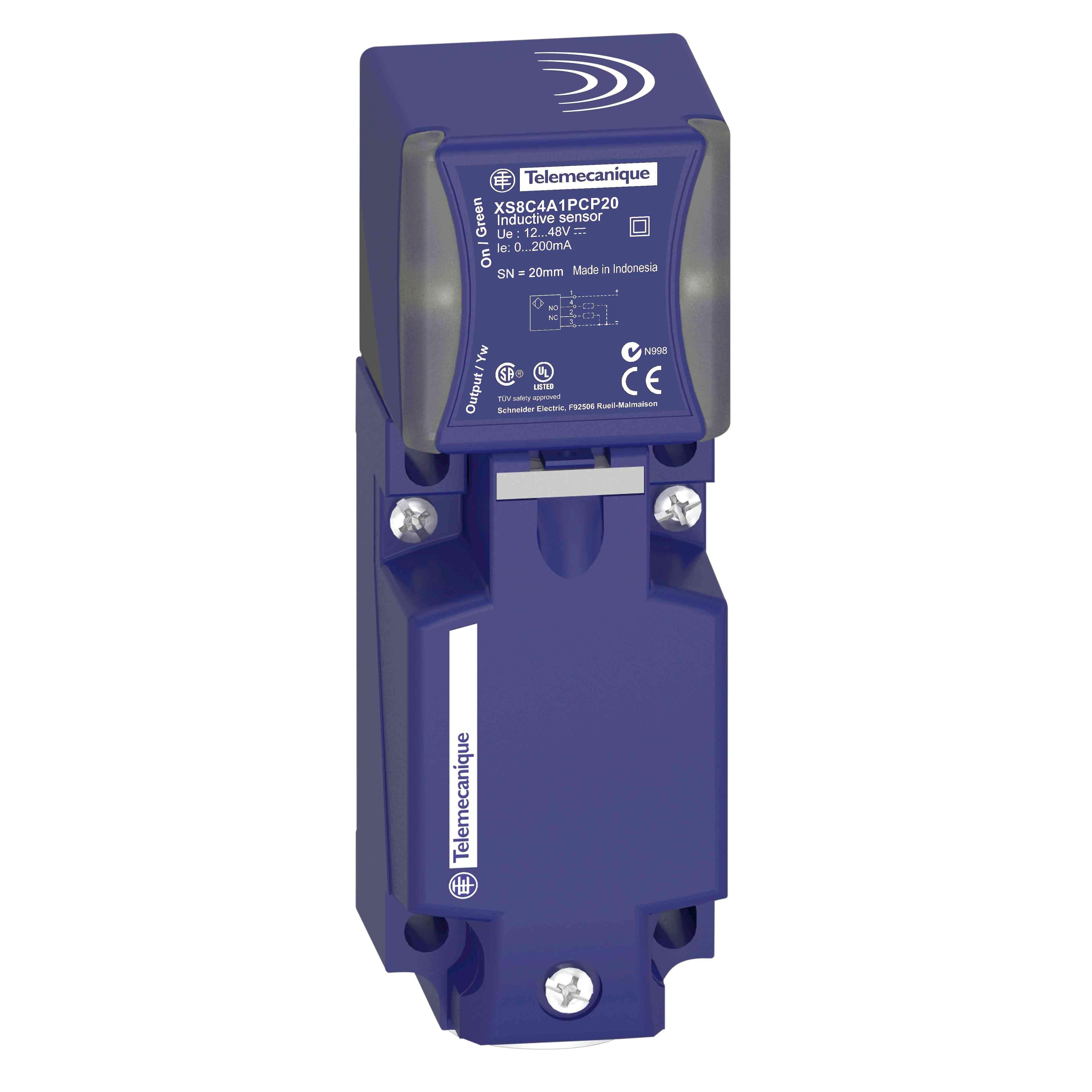 Induktivni senzor XS8 40x40x117 - PBT - Sn 40 mm - 12 do 48 V DC - priključki