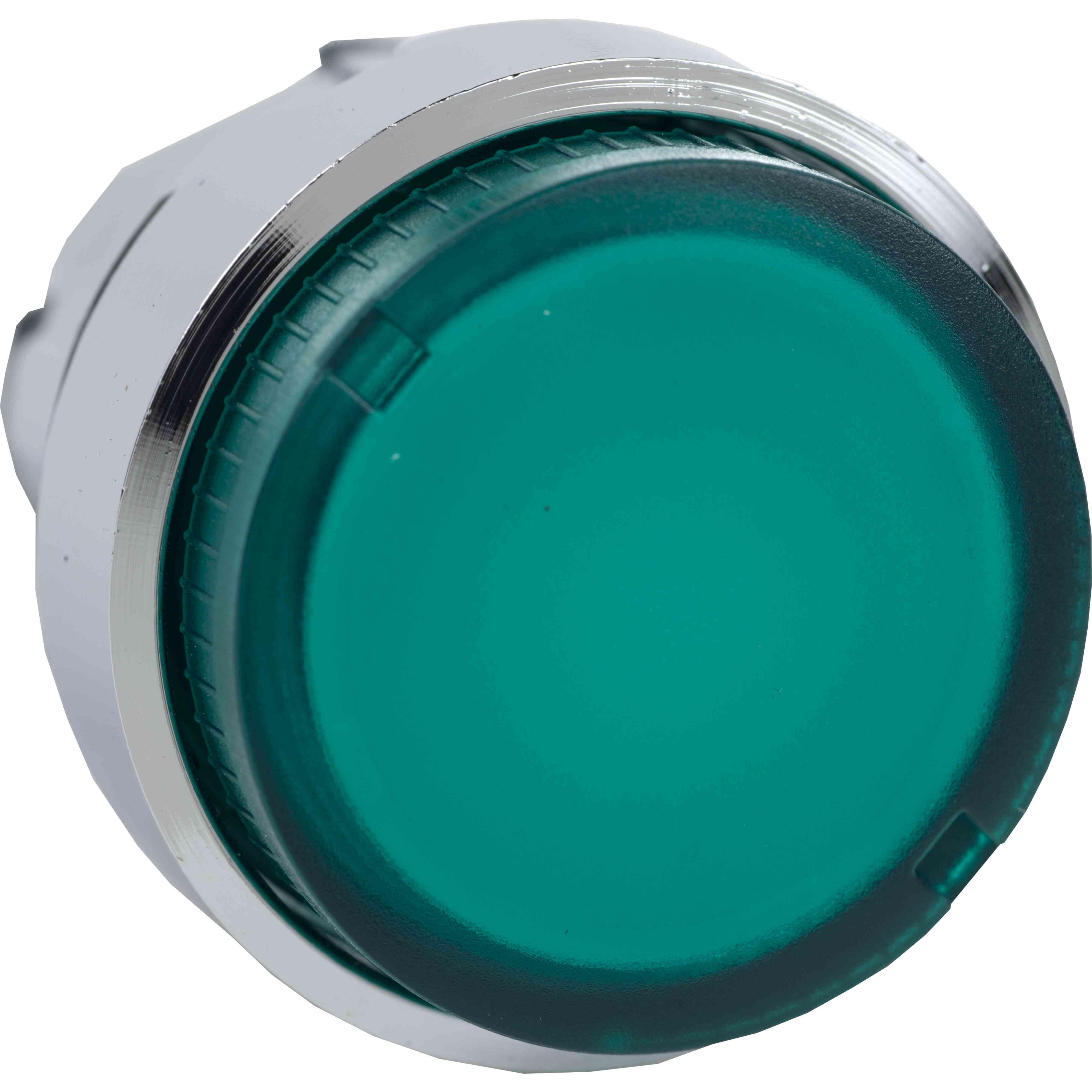 Zelena glava osvetljene izbočene tipke Ø 22 povratna vzmet za sijalko BA9S