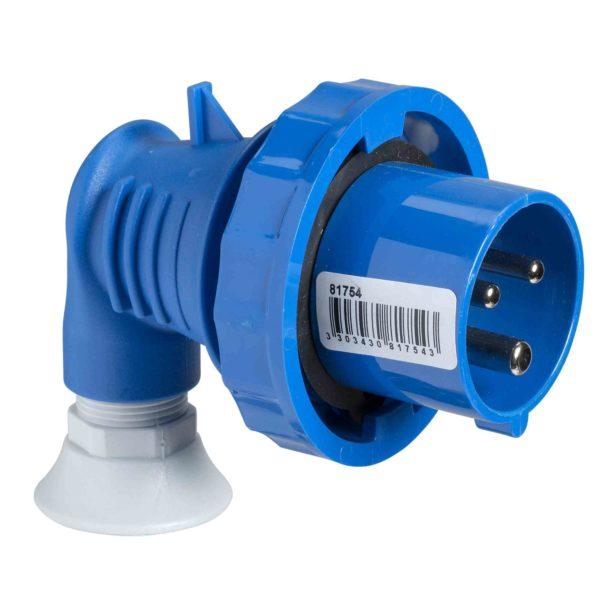PratiKa gnezdni vtič - pod kotom 90° - 16 A - 2P + E - 200 do 250 V AC - IP67