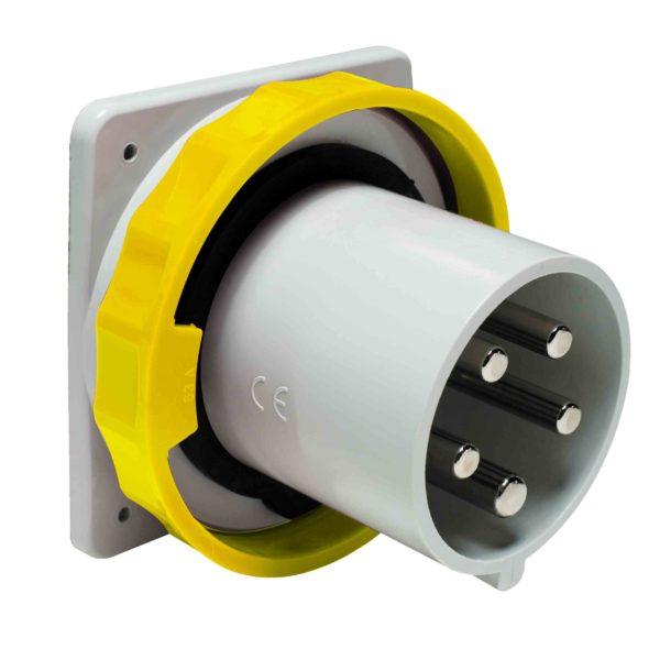 PratiKa vtič - raven - 63 A - 3P + E - 100 do 130 V AC - IP67 - plošča
