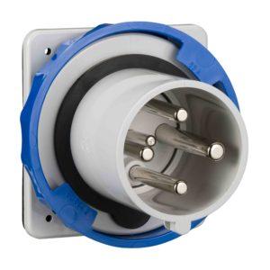PratiKa vtič - raven - 63 A - 3P + E - 200 do 250 V AC - IP67 - plošča