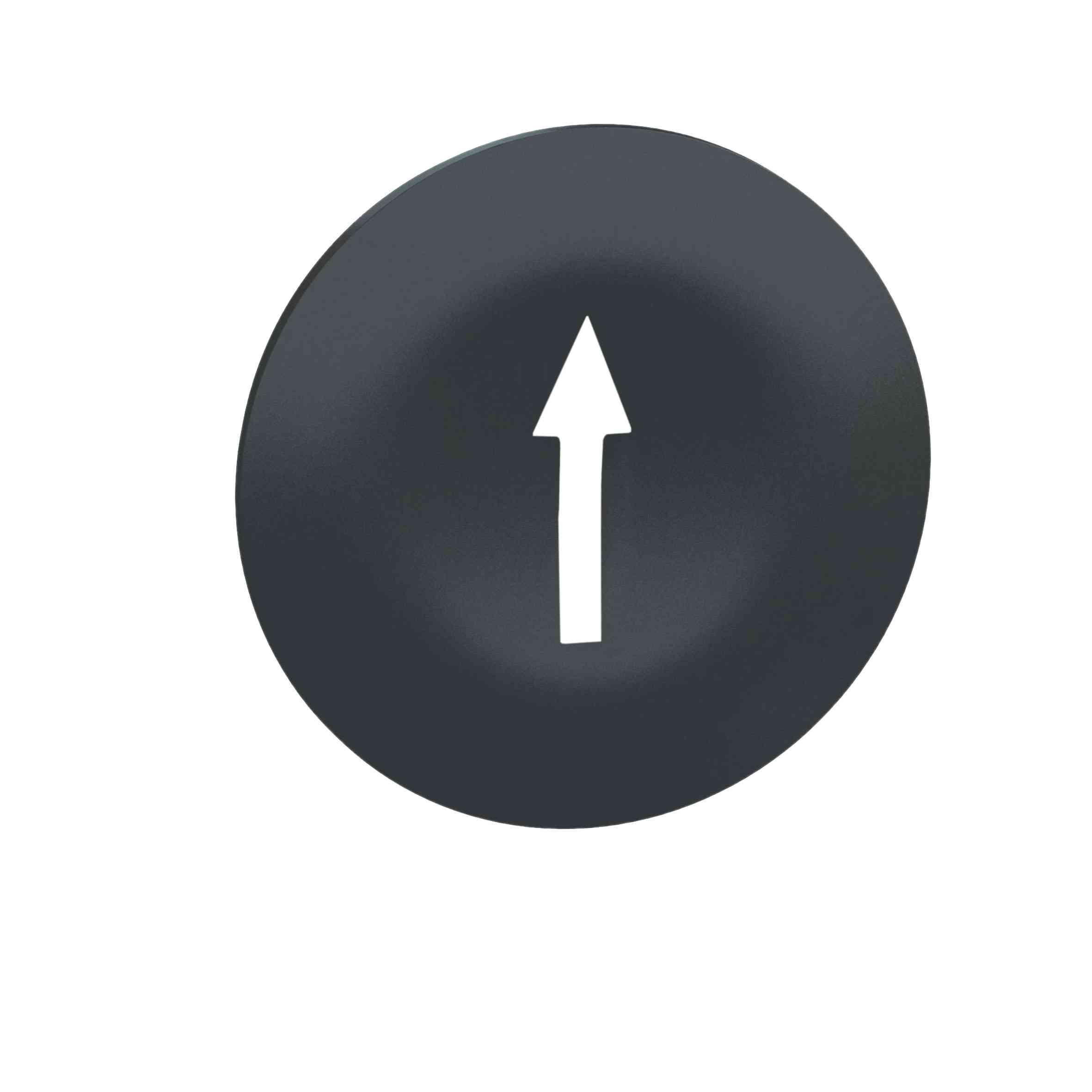 Črn pokrov z oznako puščice za pravokotno tipko z več glavami Ø 22