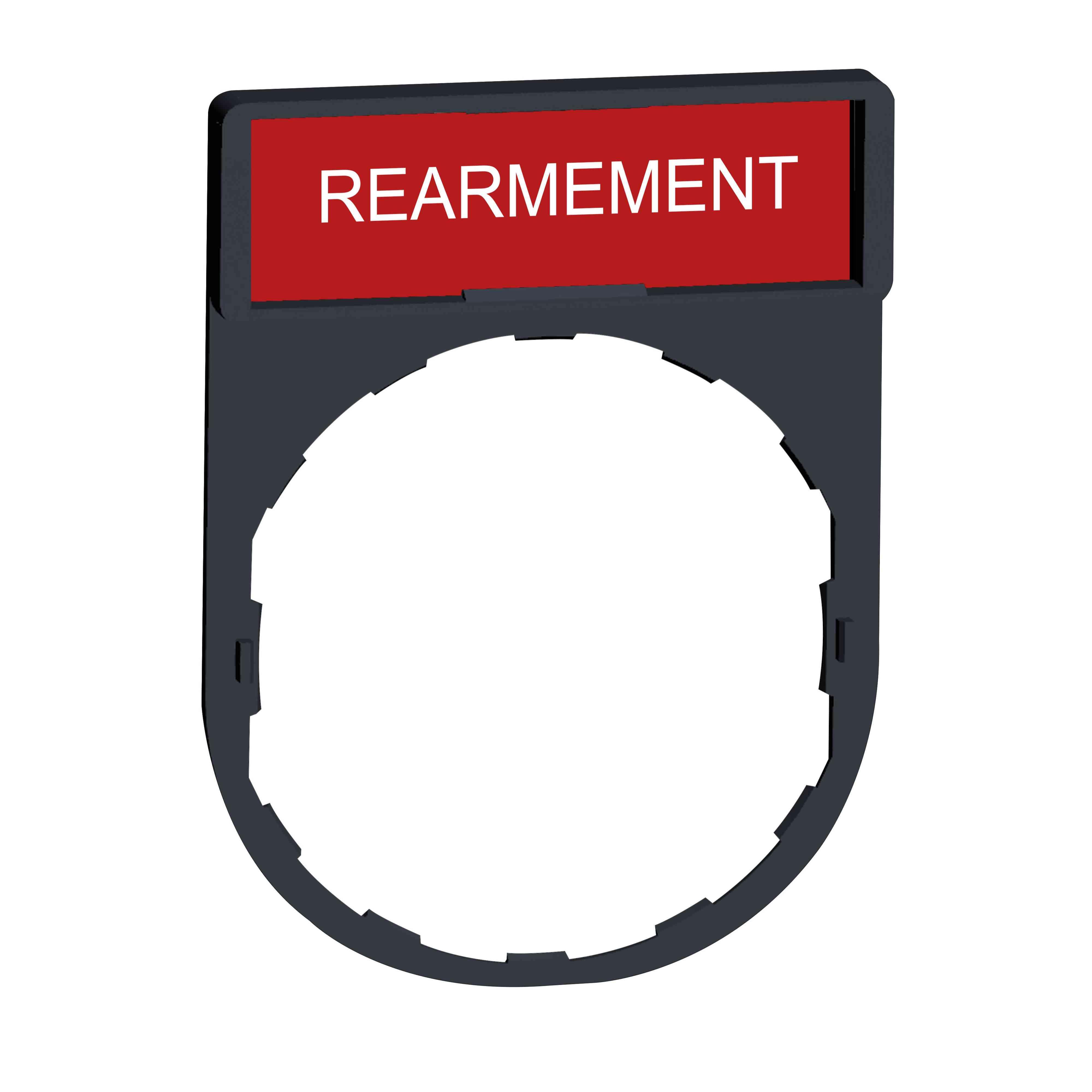 Nosilec legende 30 x 40 mm z legendo 8 x 27 mm z oznako REARMEMENT