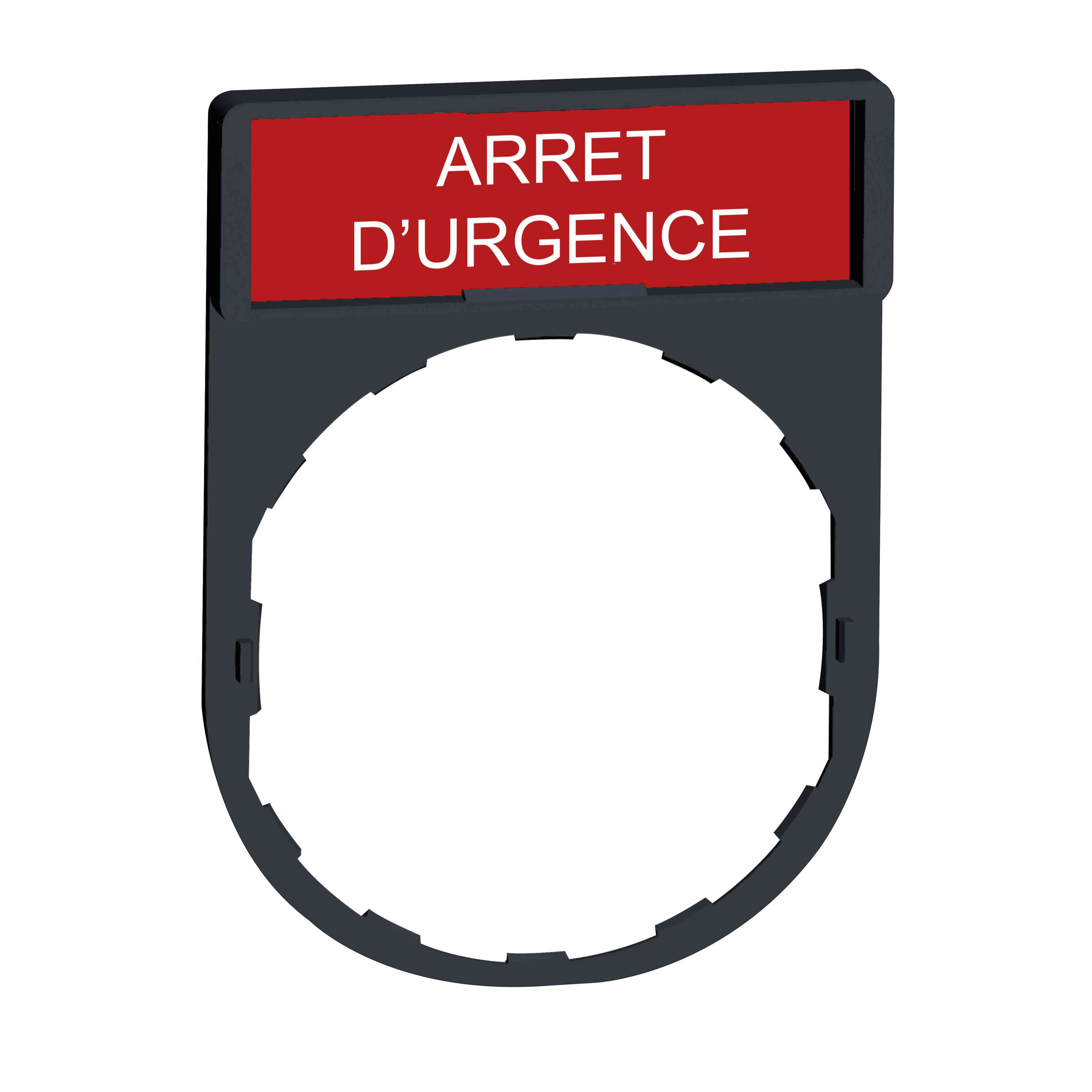 Nosilec legende 30 x 40 mm z legendo 8 x 27 mm z oznako ARRET D'URGENCE