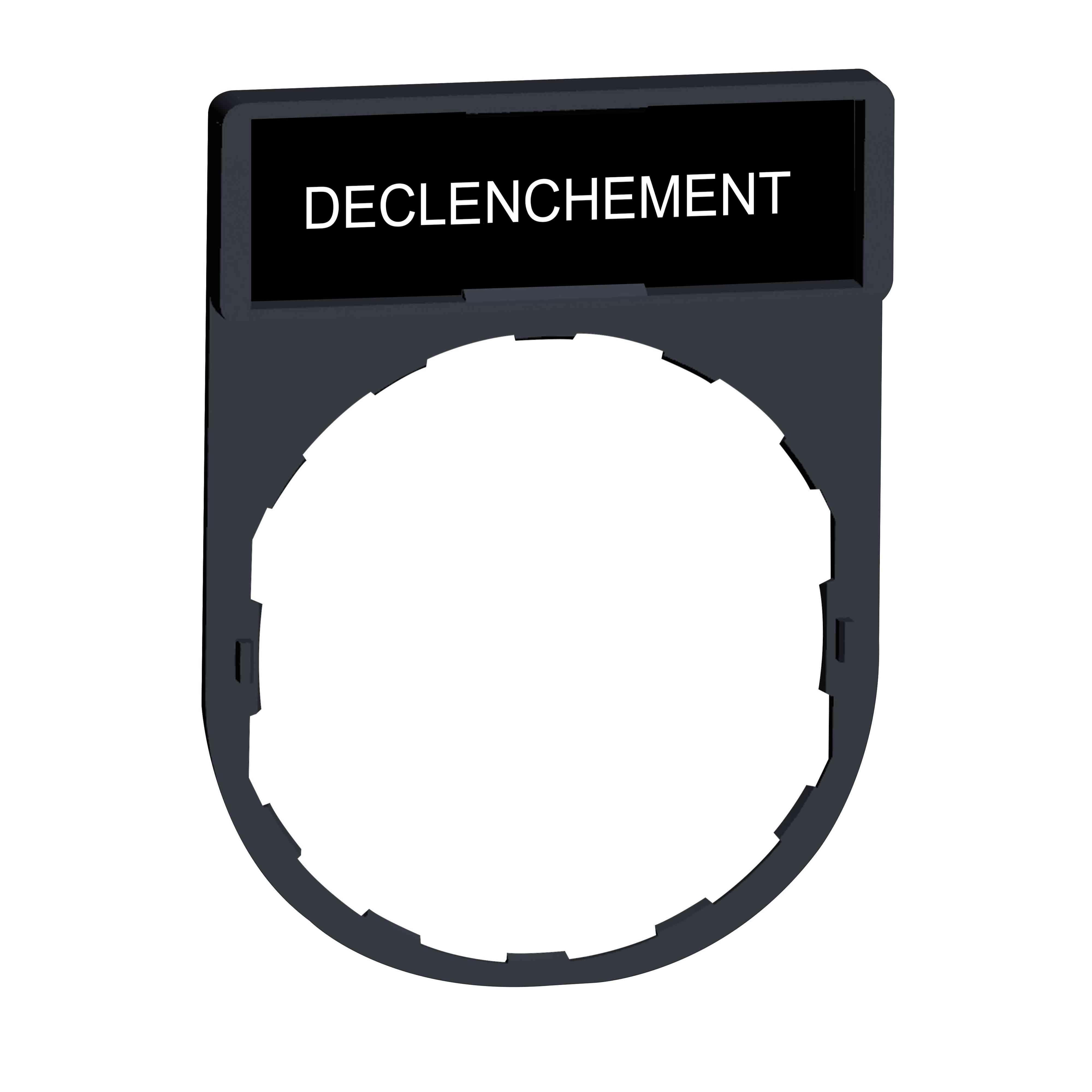 Nosilec legende 30 x 40 mm z legendo 8 x 27 mm z oznako DECLENCHEMENT
