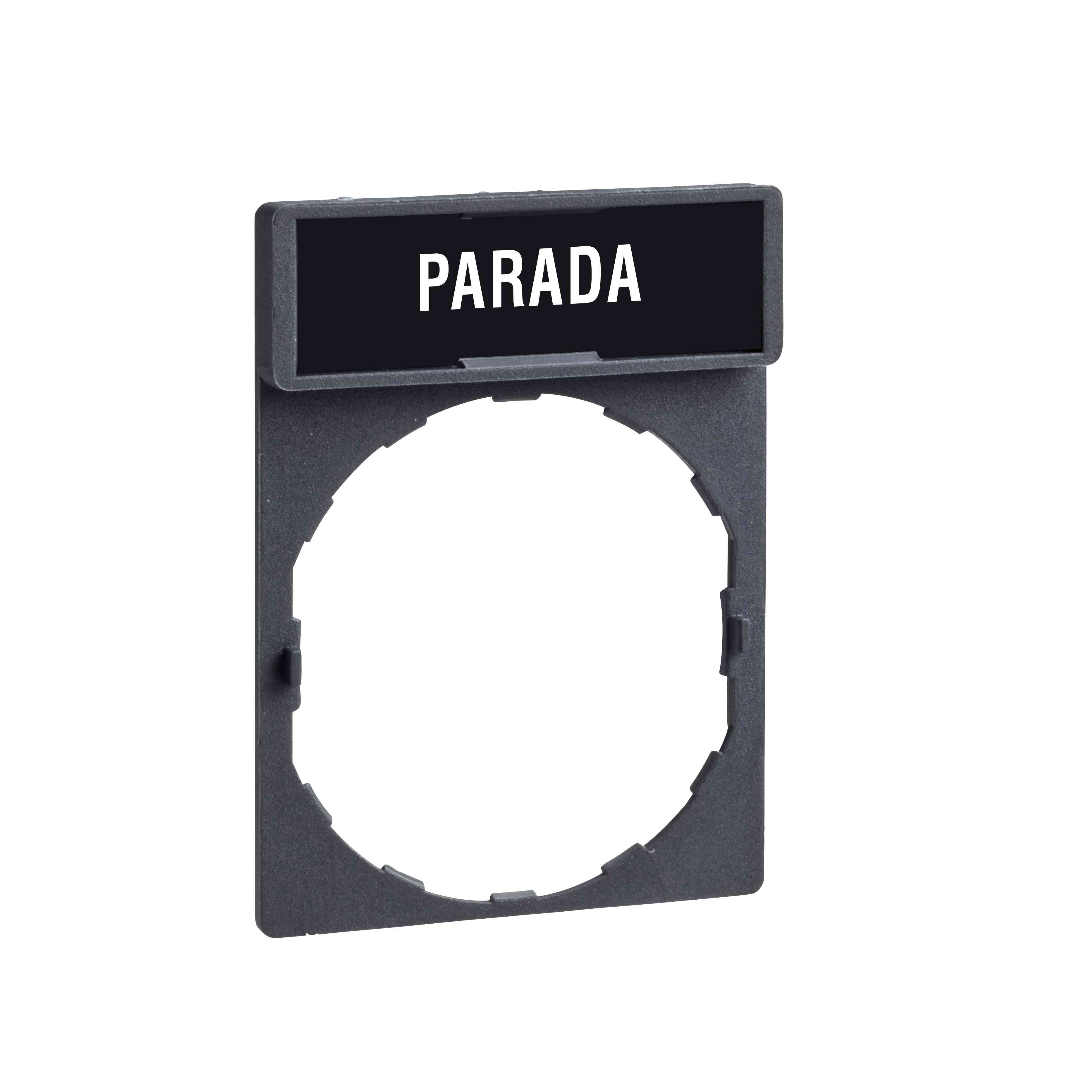 Nosilec legende 30 x 40 mm z legendo 8 x 27 mm z oznako PARADA