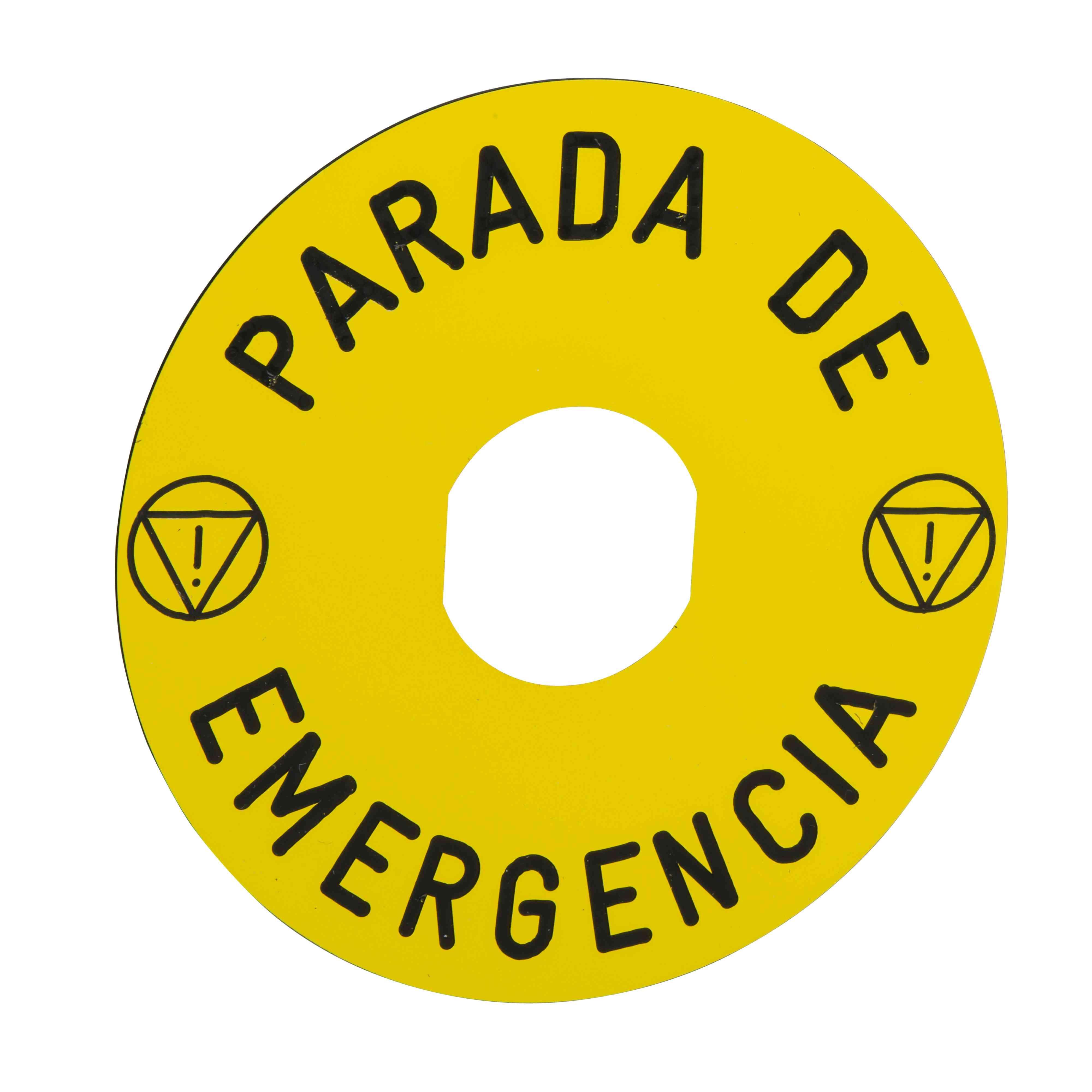 Označena legenda Ø 90 za izklop v sili - PARADA DE EMERGENCIA/logo ISO13850