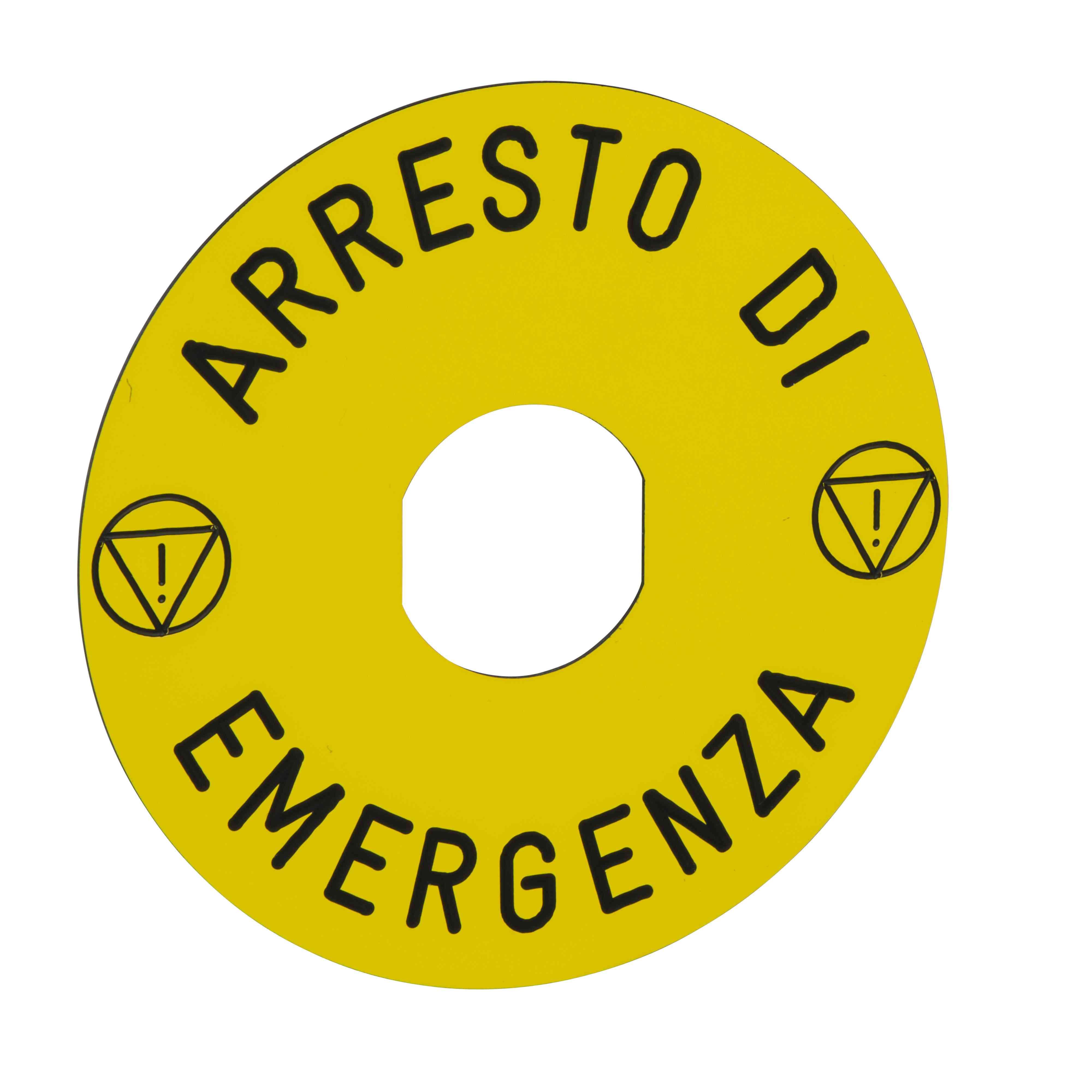 Označena legenda Ø 90 za izklop v sili - ARRESTO DE EMERGENCIA/logo ISO13850