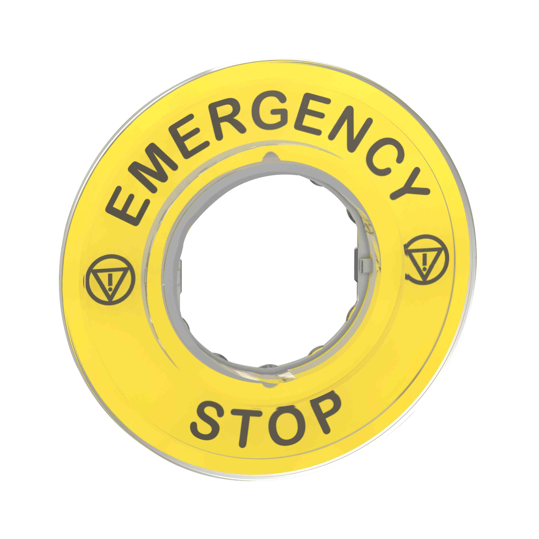 Označena legenda Ø 60 za izklop v sili - EMERGENCY STOP/logo ISO13850