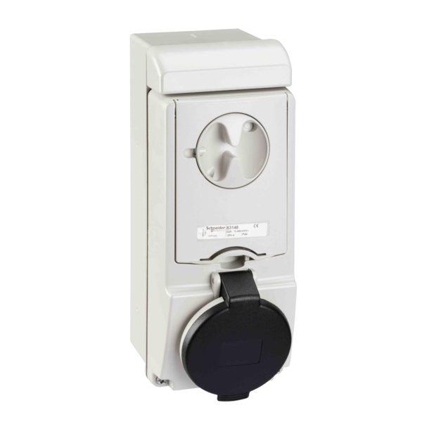 Unika vtičnica z zaklepanjem - 32 A - 3P + E - 480 do 500 V AC - IP44 - stena