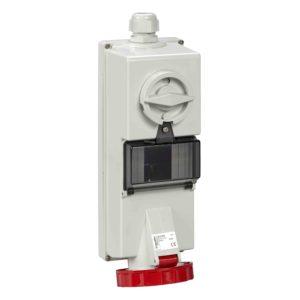 Isoblock vtičnica z zaklepanjem - 32 A - 3P + E - 380 do 415 V AC - IP65 - stena