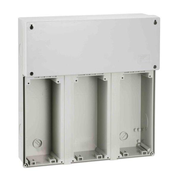 PratiKa modularna osnova - 3 vtičnice z razdelilno omarico - 340 x 360