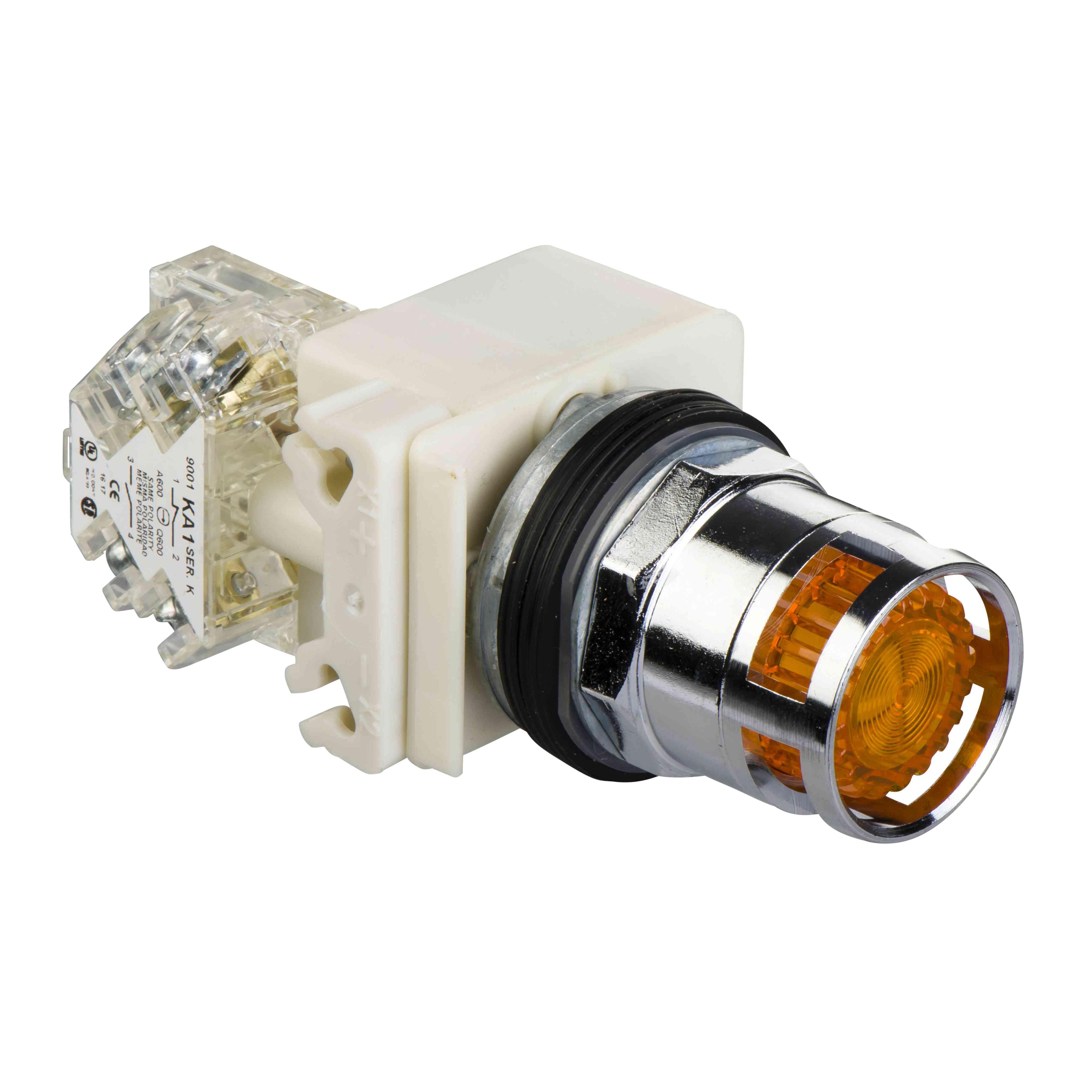 Jantarno osvetljena tipka ø 30 - podometna povratna vzmet - 230 V - 1 OC
