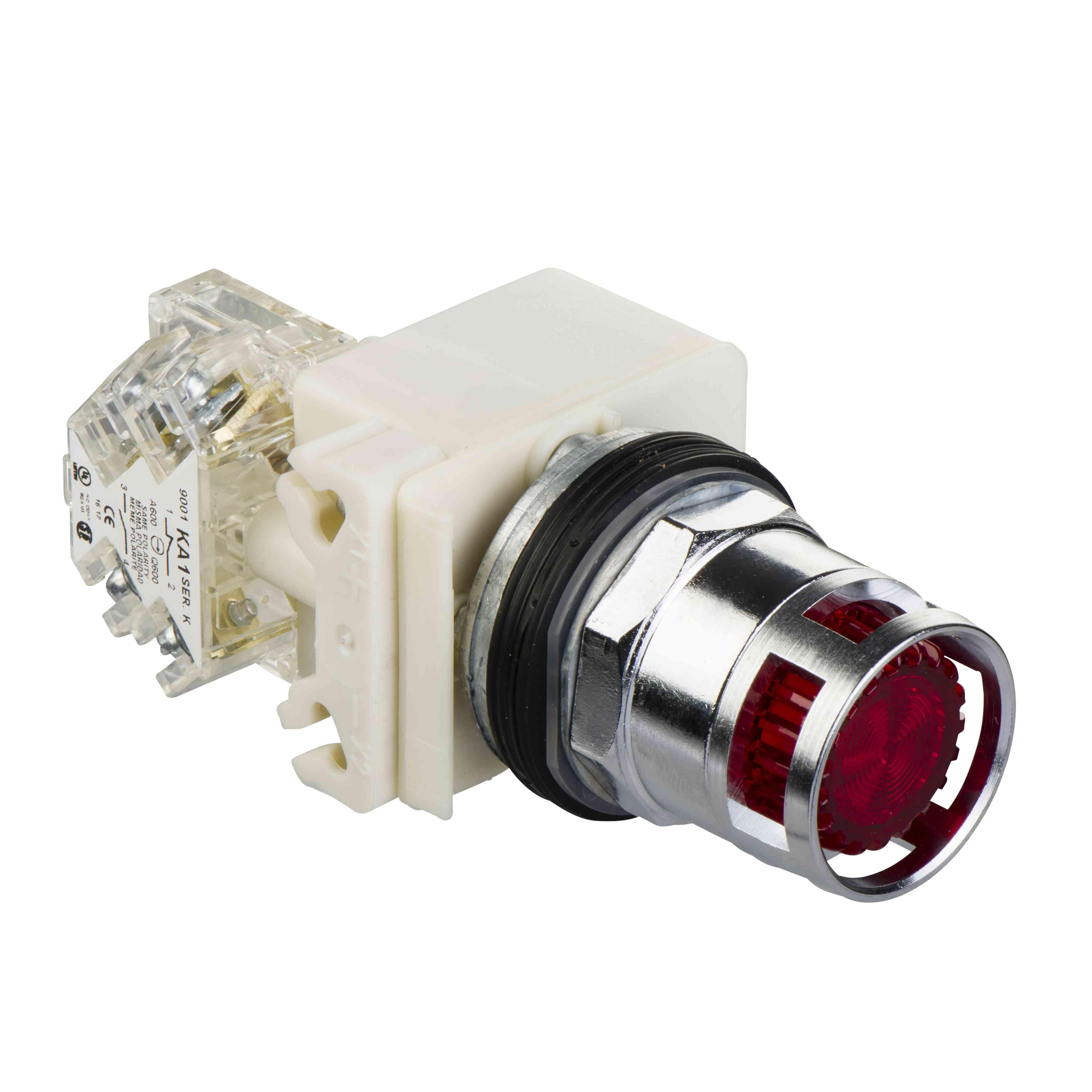 Rdeče osvetljena tipka ø 30 - podometna povratna vzmet - 230 V - 1 OC