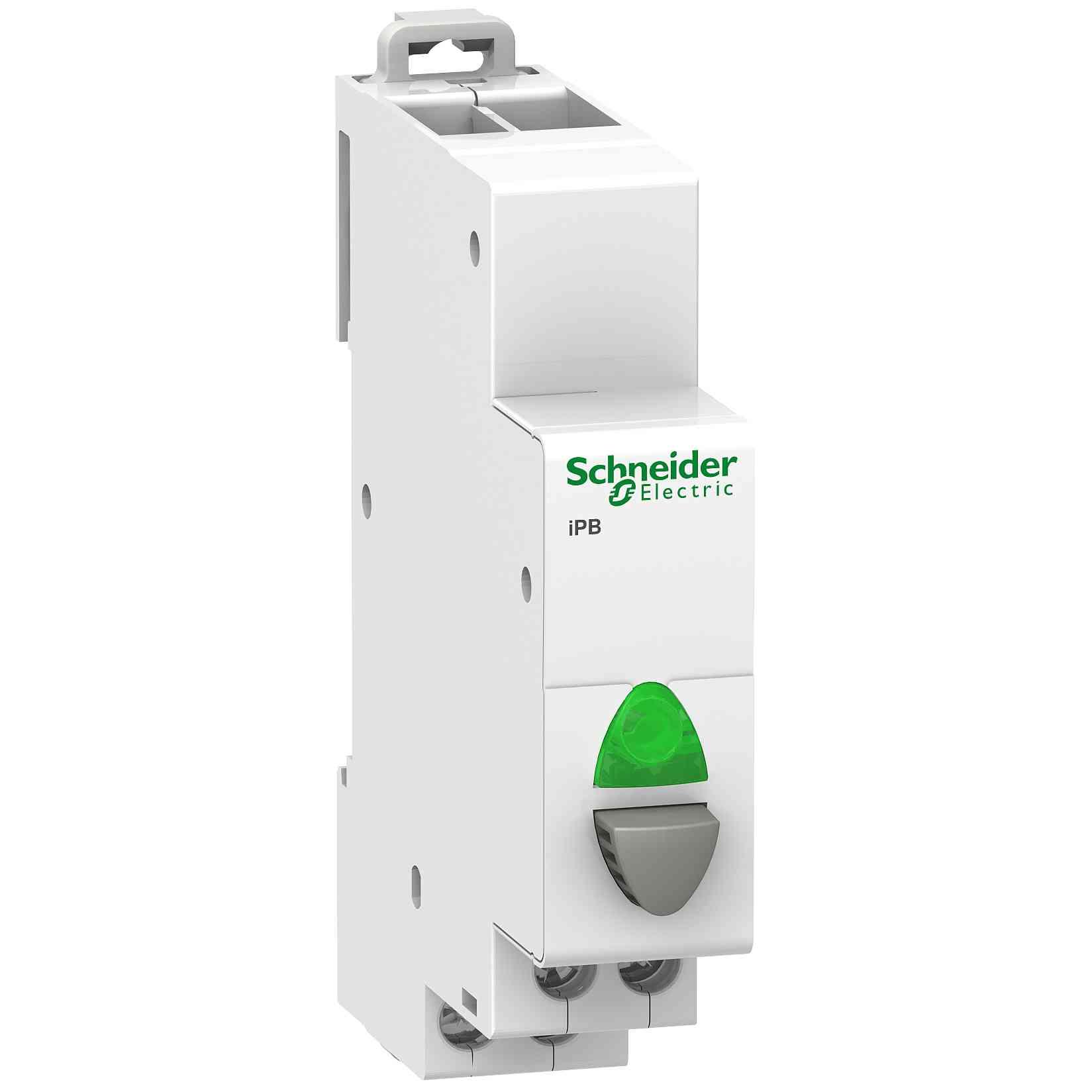 Enojna siva tipka Acti9 iPB 1 NO - zelena indikatorska luč 12 do 48 V AC/DC