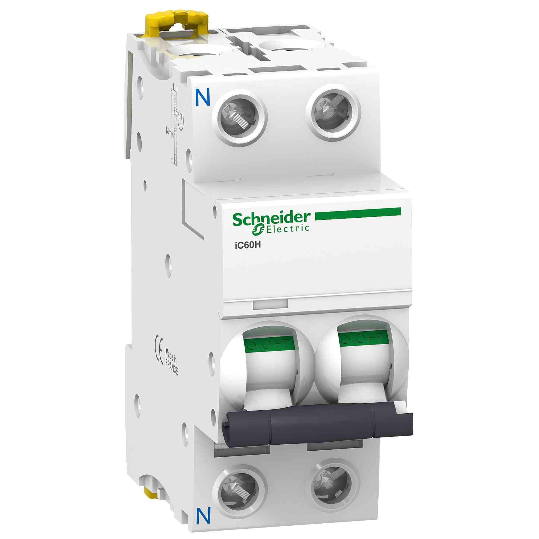 iC60H - miniaturni odklopnik - 1P + N - 50 A - krivulja D