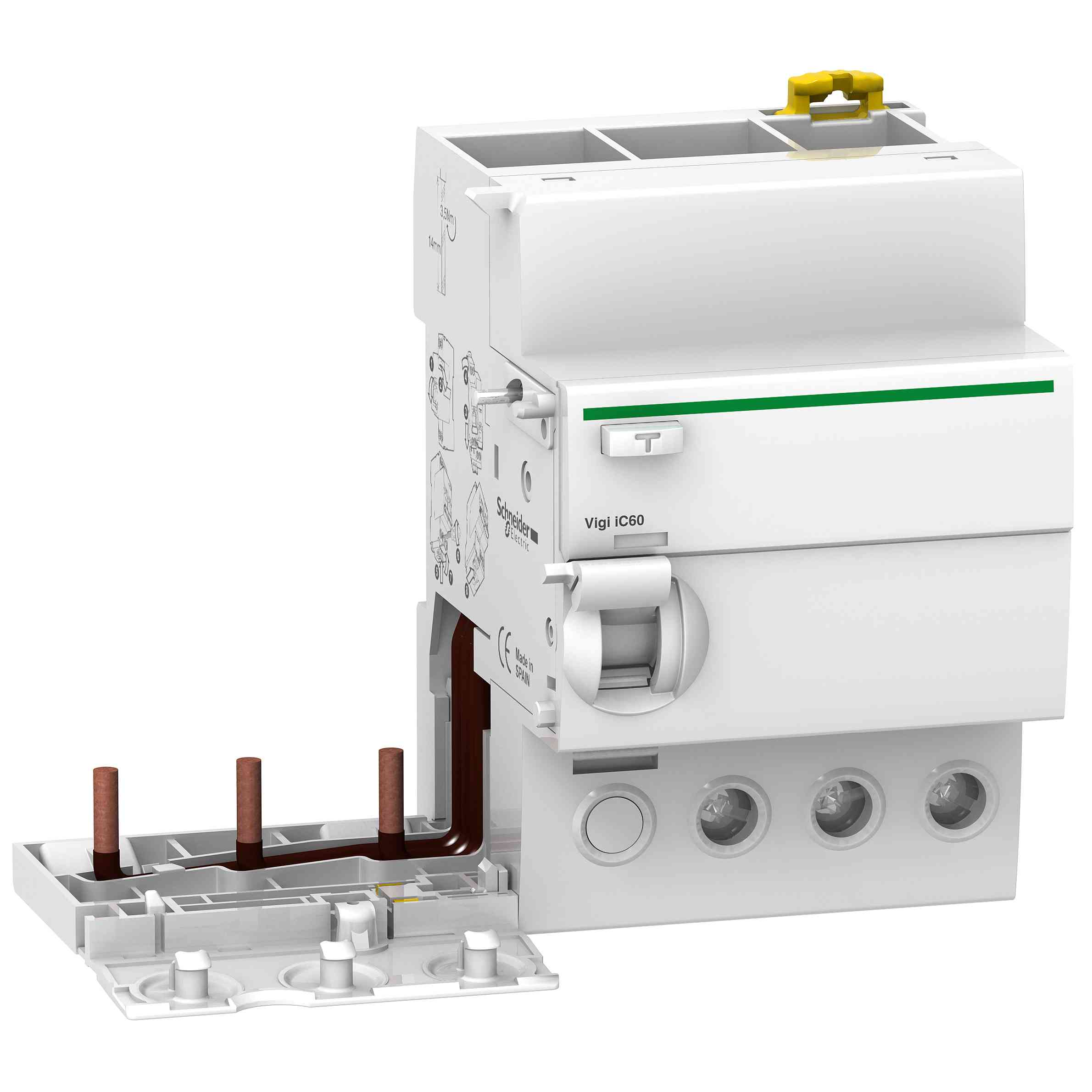 Vigi iC60 - ozemljitveni blok - 3P - 63 A - 500 mA - tip A