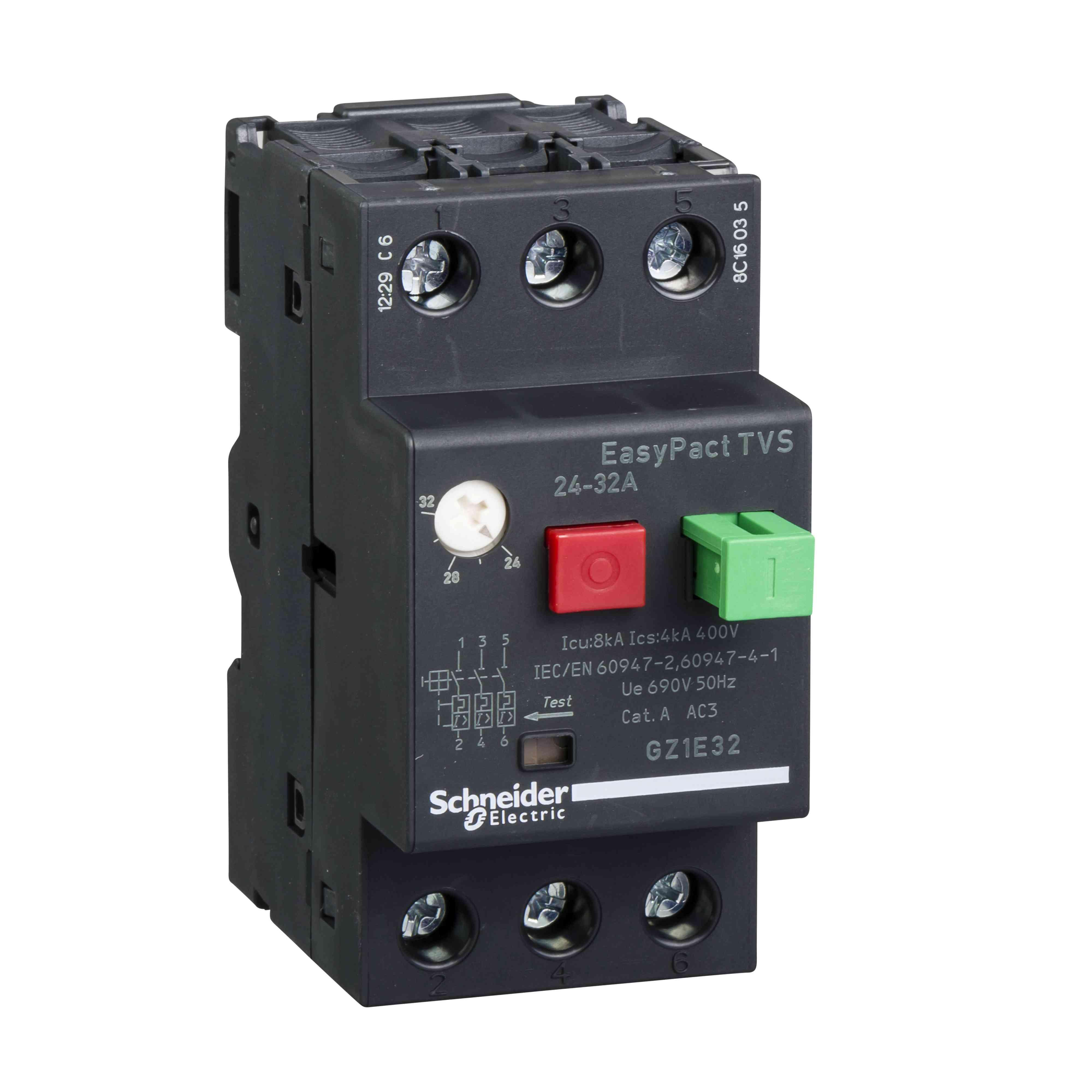 Motorski odklopnik GZ1 - 3 poli 3d - 24 do 32 A - termomagnetni sprožnik